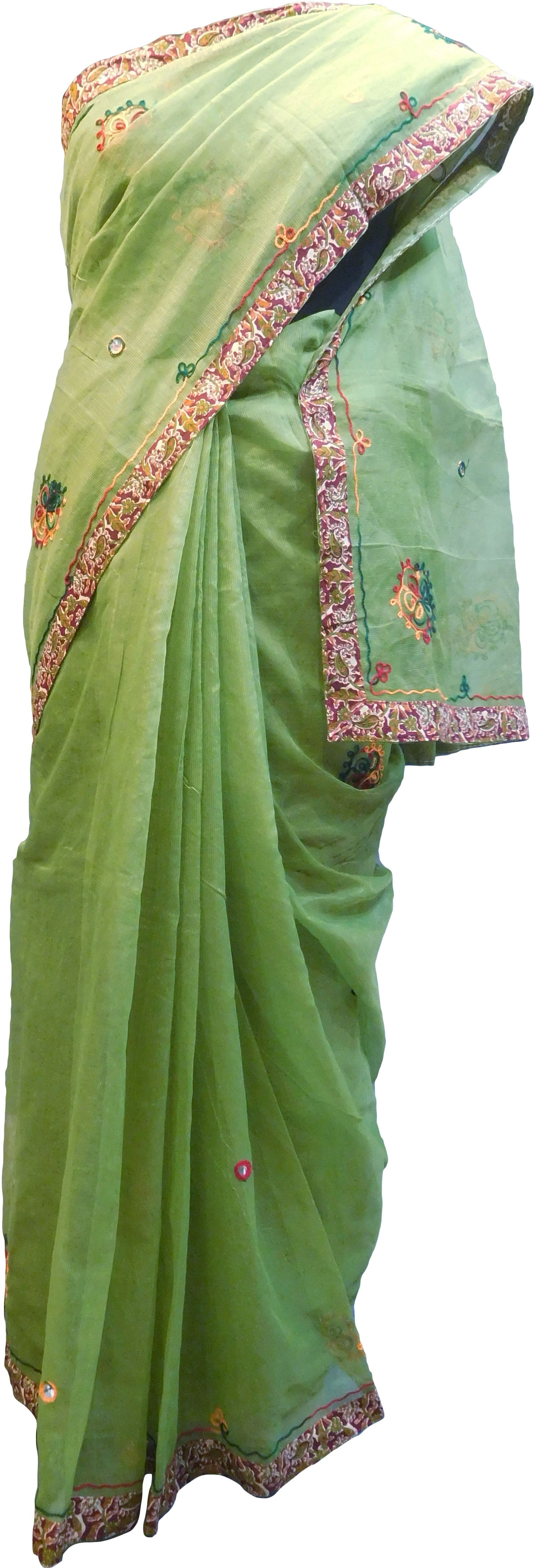 SMSAREE Green Designer Wedding Partywear Supernet (Cotton) Thread Hand Embroidery Work Bridal Saree Sari With Blouse Piece F029