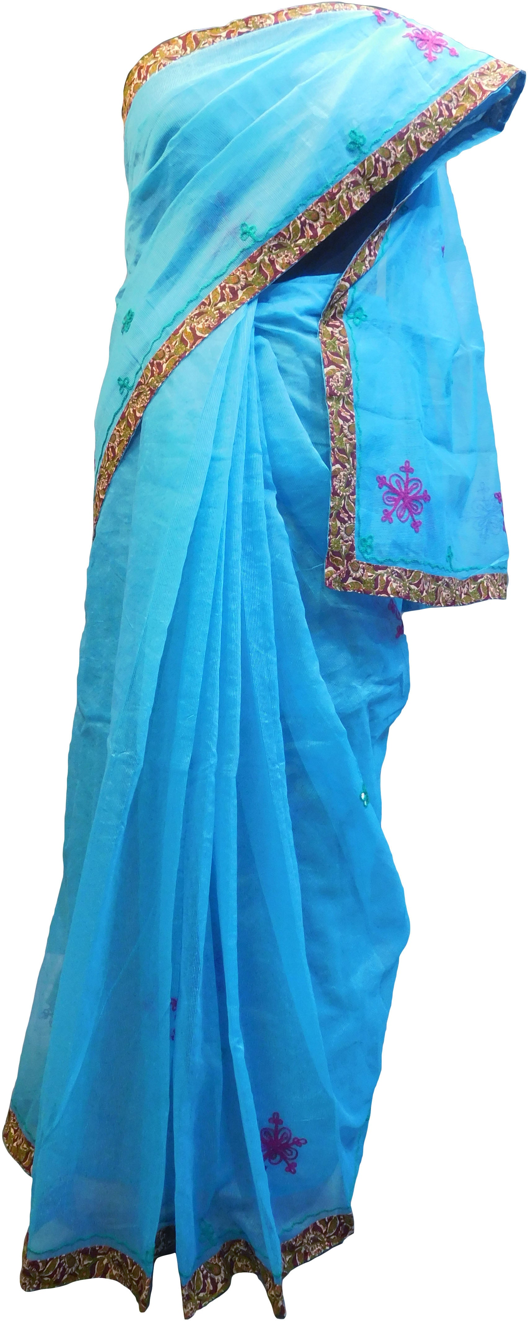 SMSAREE Blue Designer Wedding Partywear Supernet (Cotton) Thread Hand Embroidery Work Bridal Saree Sari With Blouse Piece F030