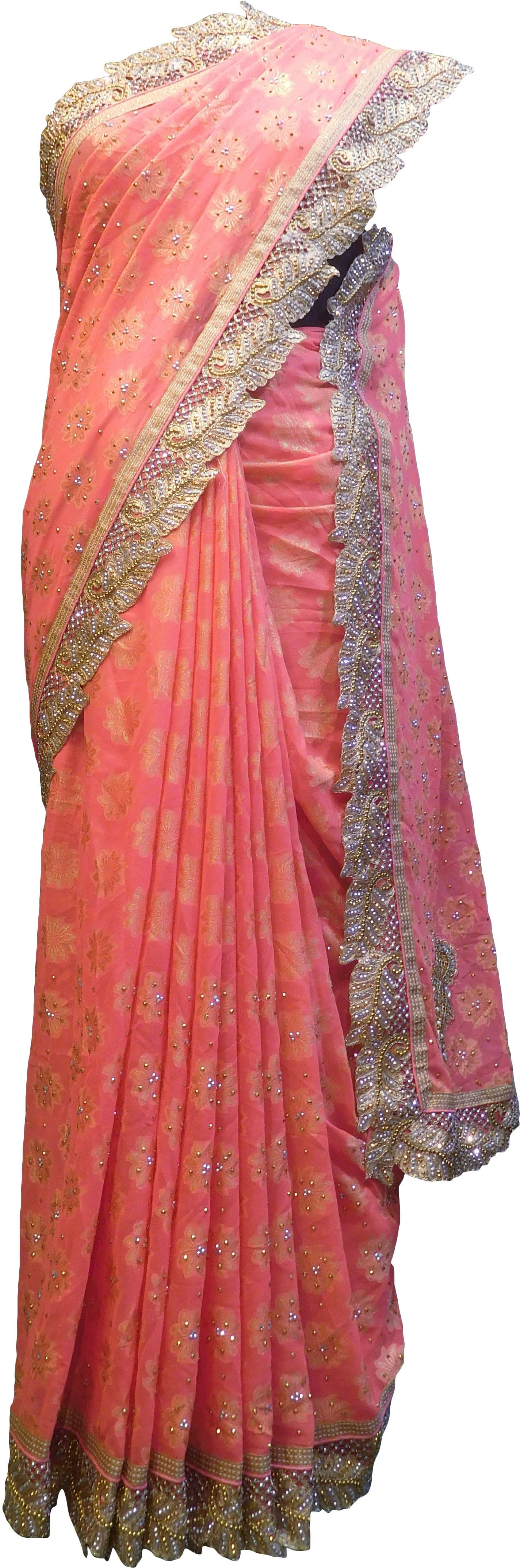 SMSAREE Peach Designer Wedding Partywear Georgette Stone Zari Beads & Pearl Hand Embroidery Work Bridal Saree Sari With Blouse Piece F078