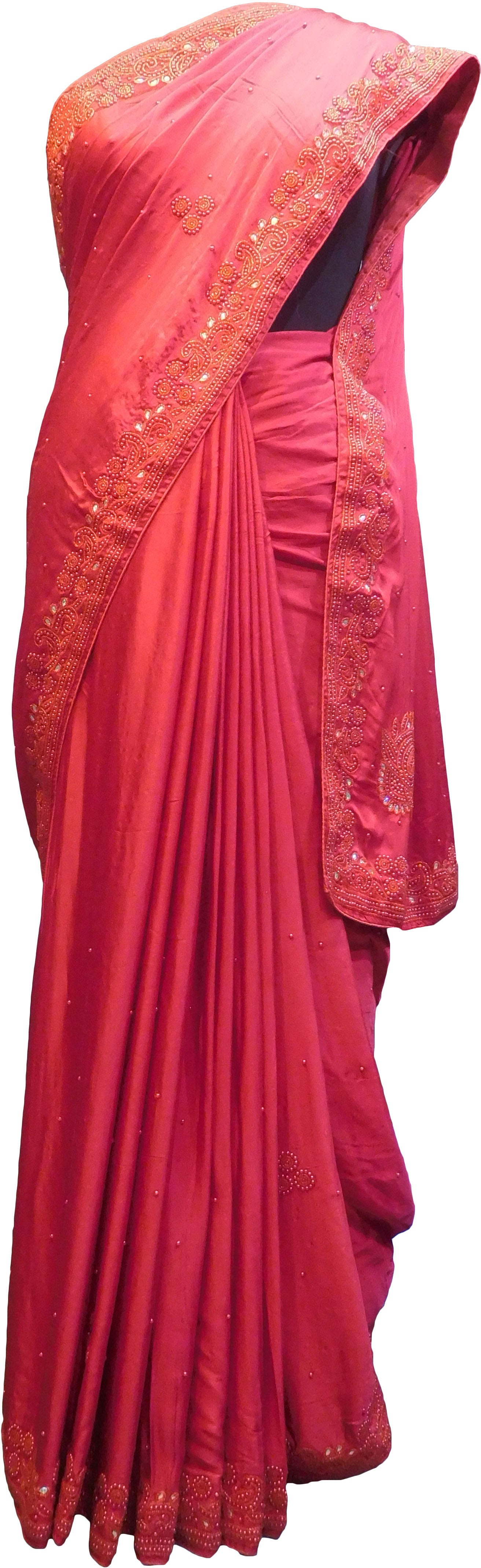 SMSAREE Red Designer Wedding Partywear Satin Silk Stone Beads & Pearl Hand Embroidery Work Bridal Saree Sari With Blouse Piece F087