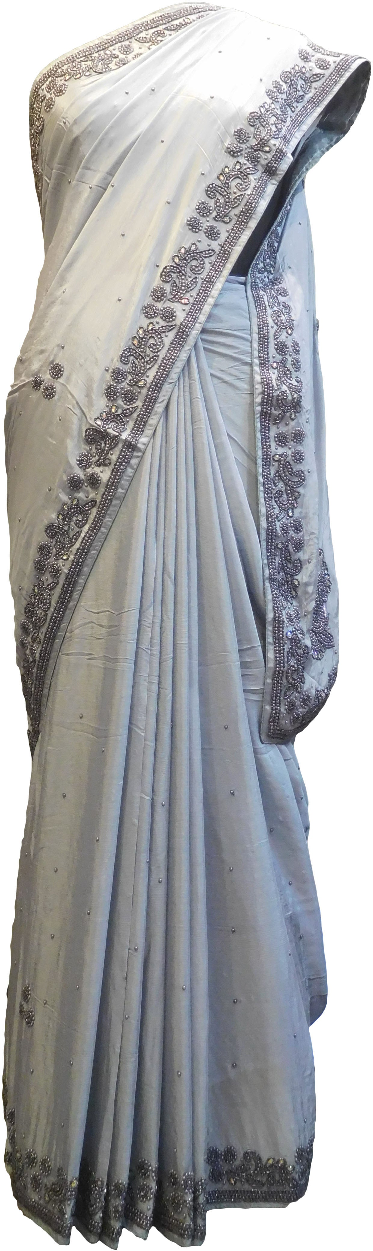 SMSAREE Grey Designer Wedding Partywear Satin Silk Stone Beads & Pearl Hand Embroidery Work Bridal Saree Sari With Blouse Piece F088