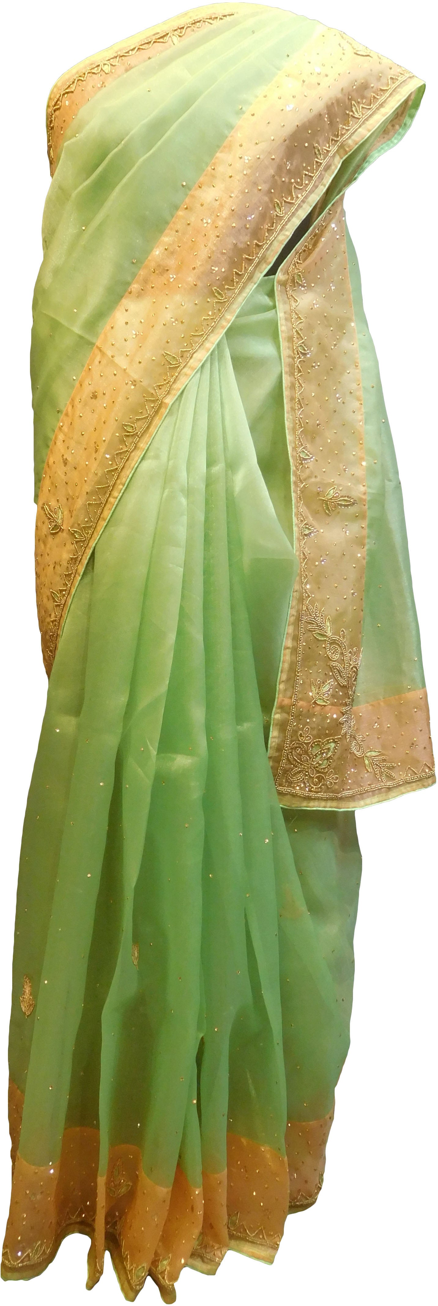SMSAREE Green & Peach Designer Wedding Partywear Organza Stone Thread & Beads Hand Embroidery Work Bridal Saree Sari With Blouse Piece F095