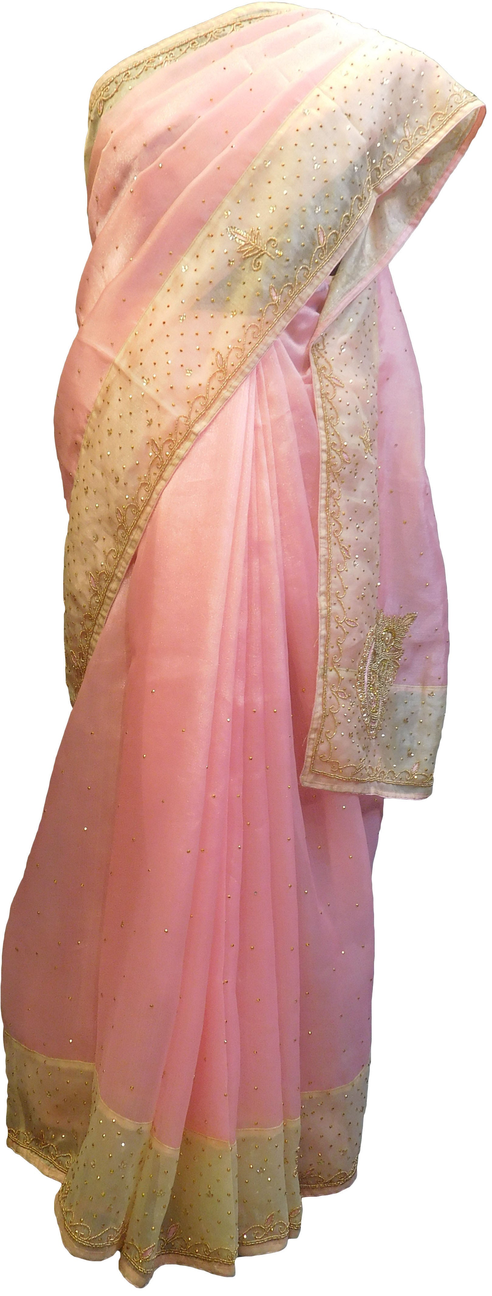 SMSAREE Pink & Beige Designer Wedding Partywear Organza Stone Thread & Beads Hand Embroidery Work Bridal Saree Sari With Blouse Piece F097