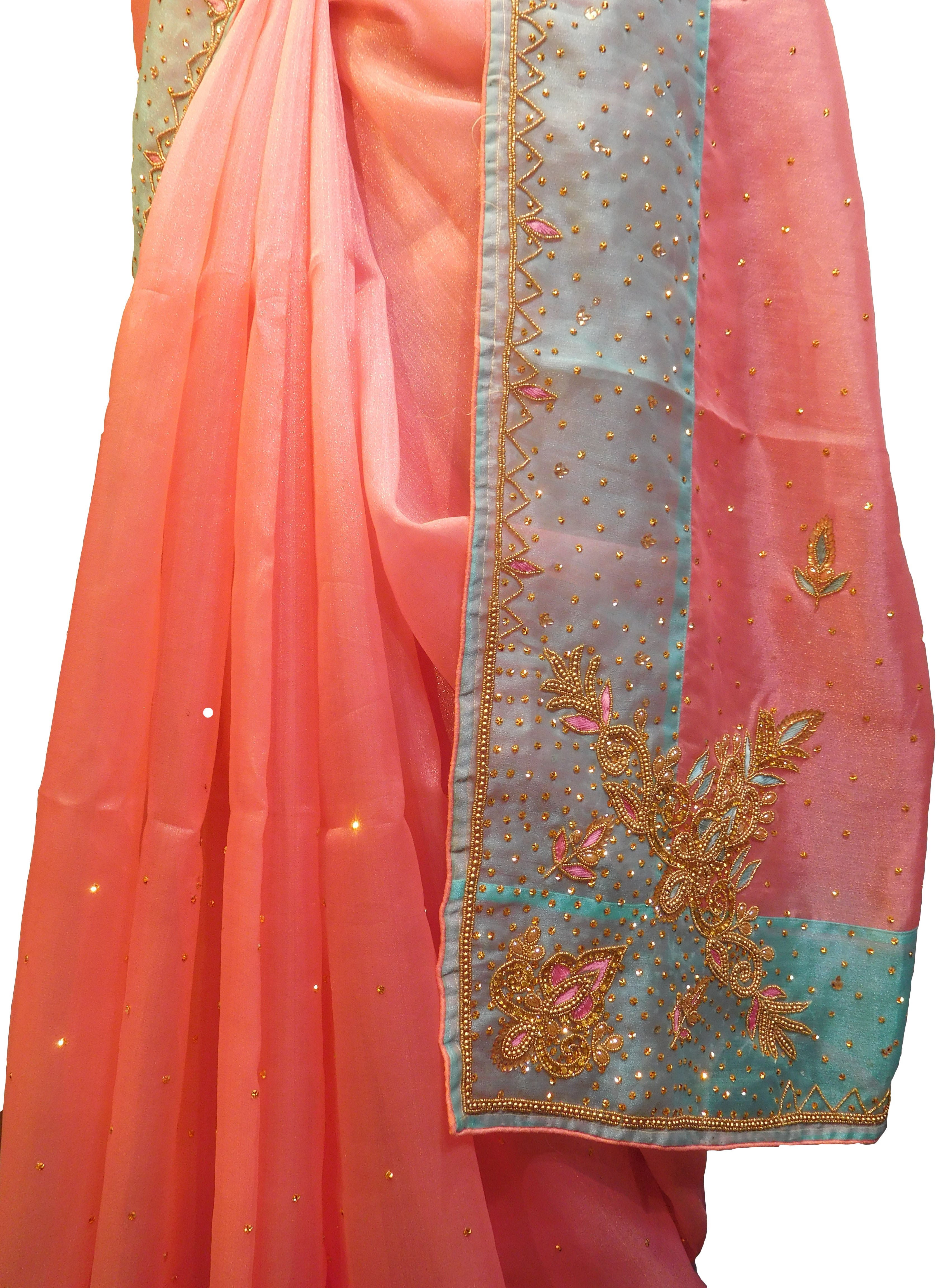 SMSAREE Pink & Turquoise Designer Wedding Partywear Organza Stone Thread & Beads Hand Embroidery Work Bridal Saree Sari With Blouse Piece F098