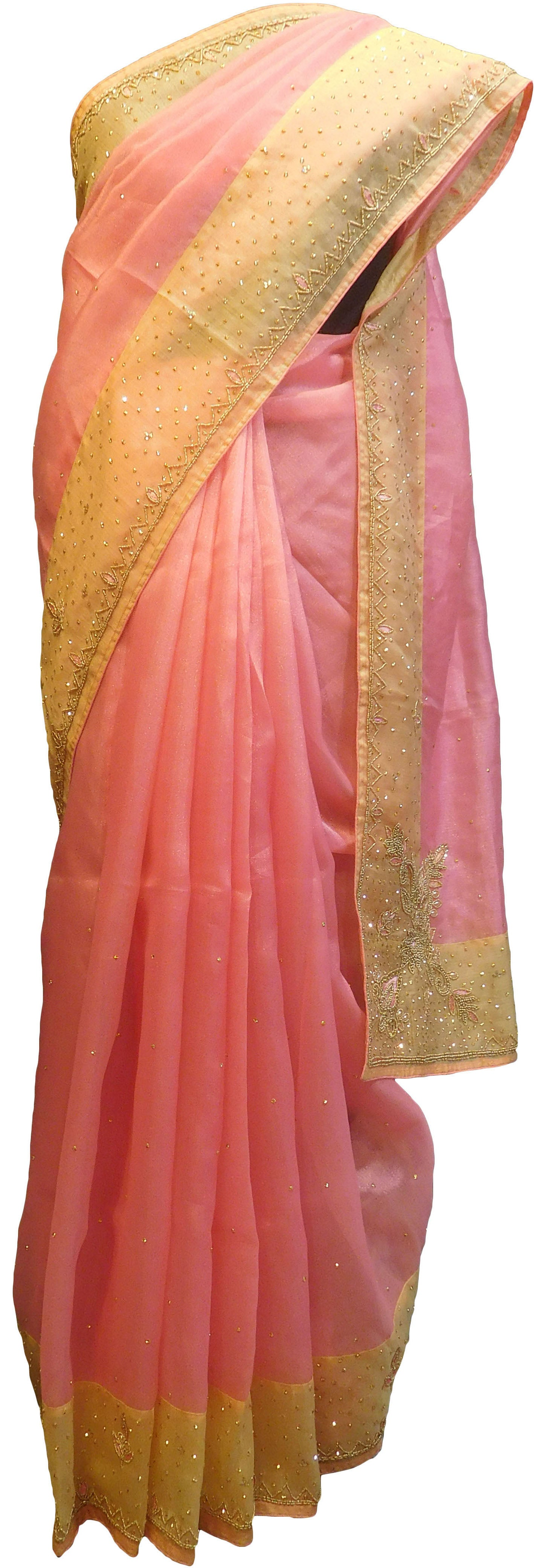 SMSAREE Pink & Yellow Designer Wedding Partywear Organza Stone Thread & Beads Hand Embroidery Work Bridal Saree Sari With Blouse Piece F100