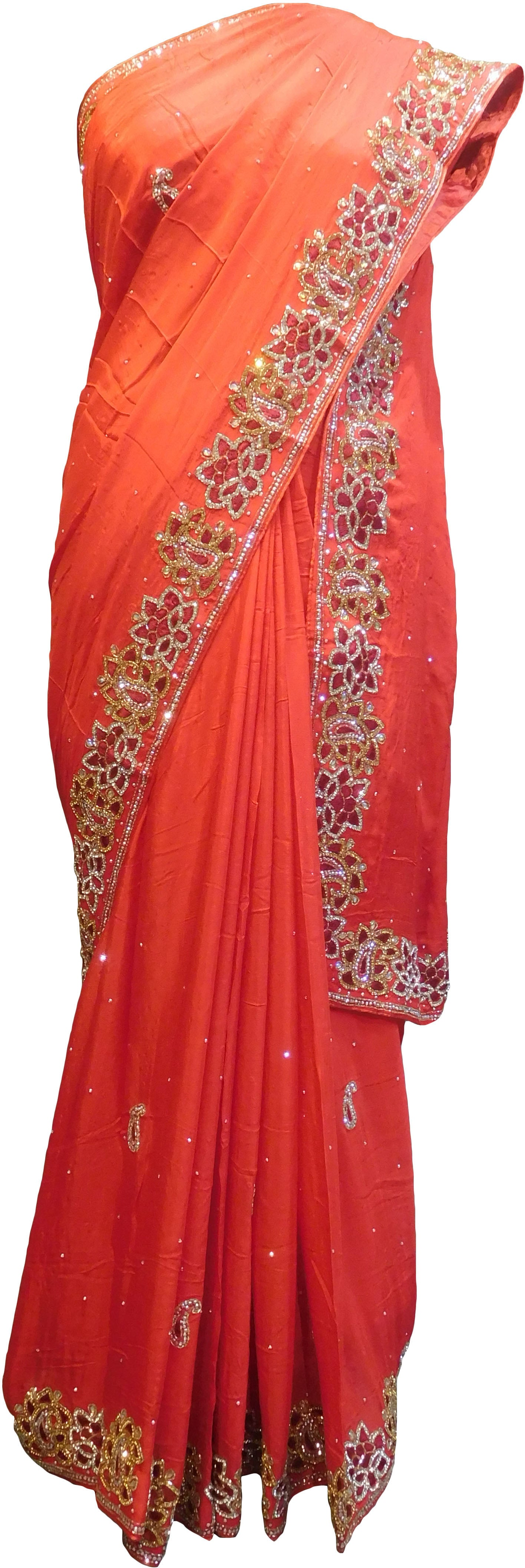 SMSAREE Red Designer Wedding Partywear Crepe (Chinon) Cutdana Thread & Stone Hand Embroidery Work Bridal Saree Sari With Blouse Piece F101
