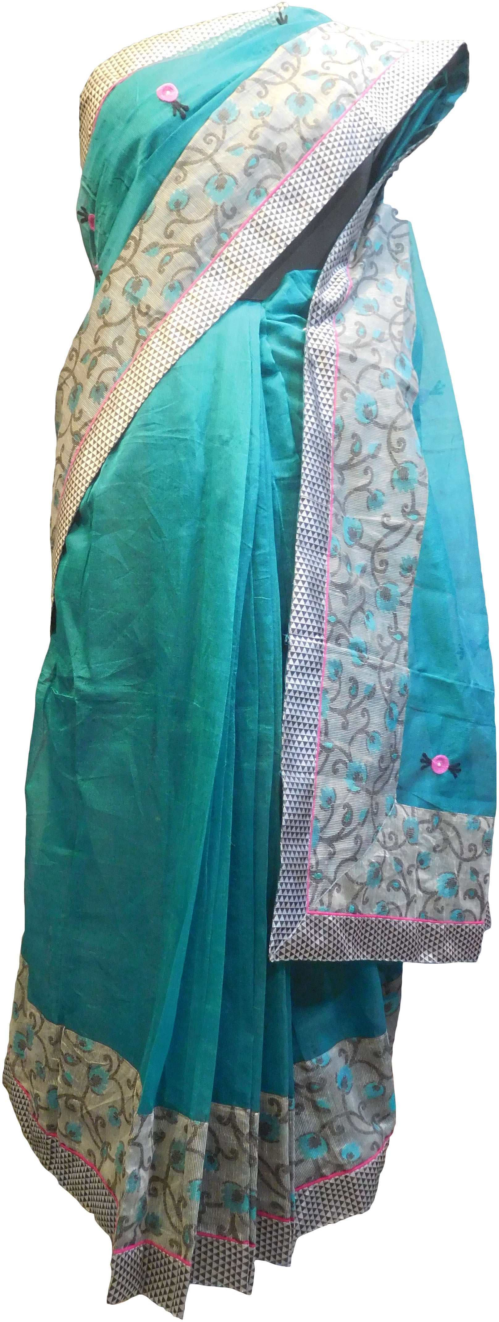 SMSAREE Turquoise Designer Wedding Partywear Supernet (Cotton) Thread & Pearl Hand Embroidery Work Bridal Saree Sari With Blouse Piece F105