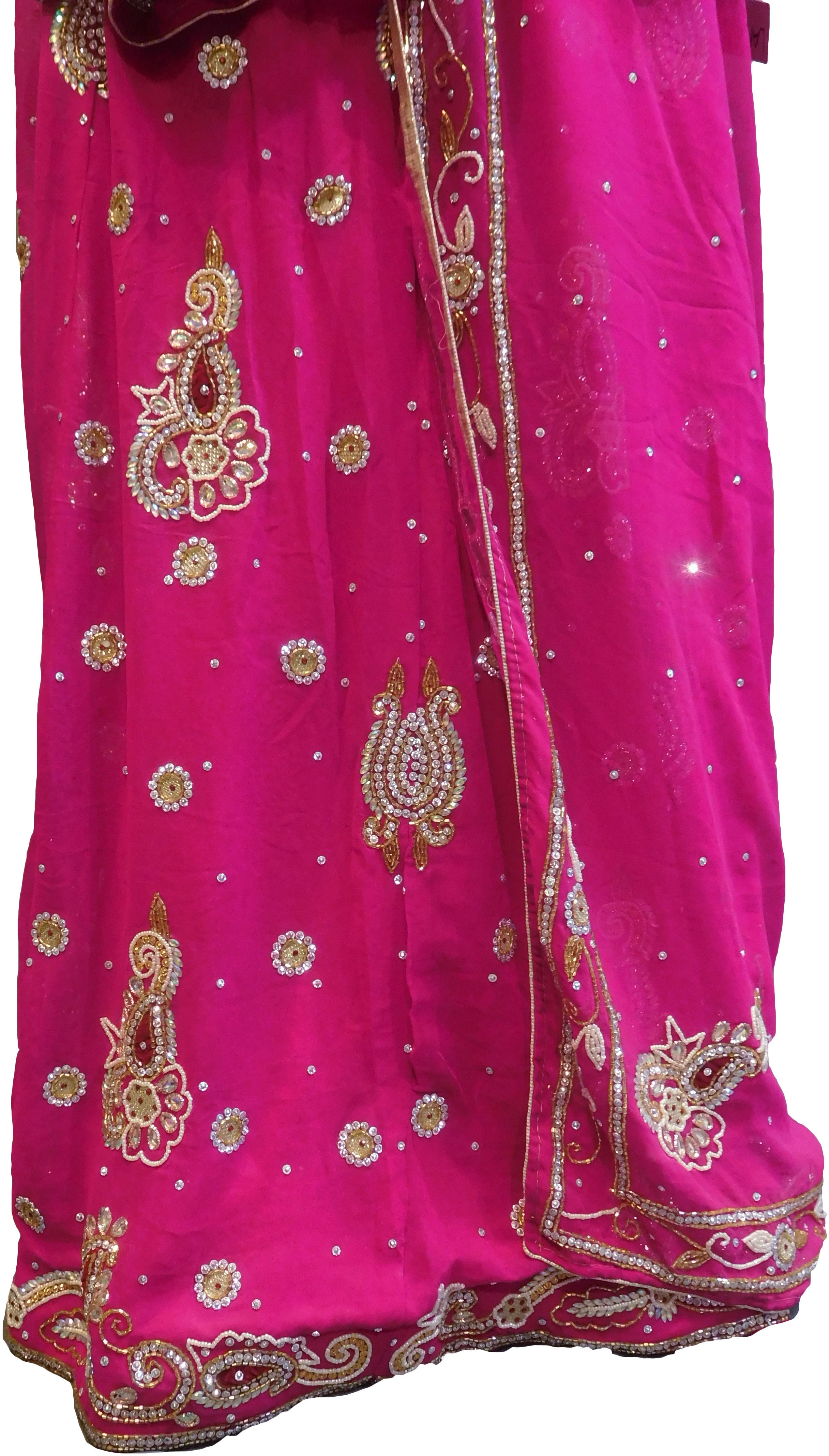 SMSAREE Pink Designer Wedding Partywear Georgette Cutdana Zari Beads & Stone Hand Embroidery Work Bridal Lahenga Dupatta Ghaghra Choli Bari Ki Til With Blouse Piece F109