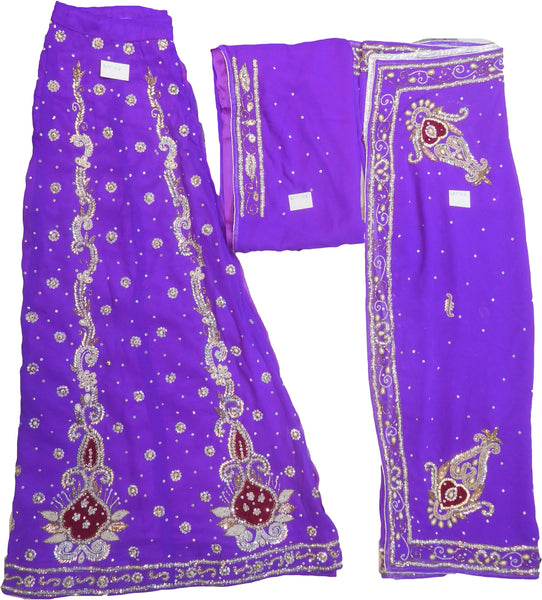 SMSAREE Purple Designer Wedding Partywear Georgette Cutdana Zari Beads & Stone Hand Embroidery Work Bridal Lahenga Dupatta Ghaghra Choli Bari Ki Til With Blouse Piece F118