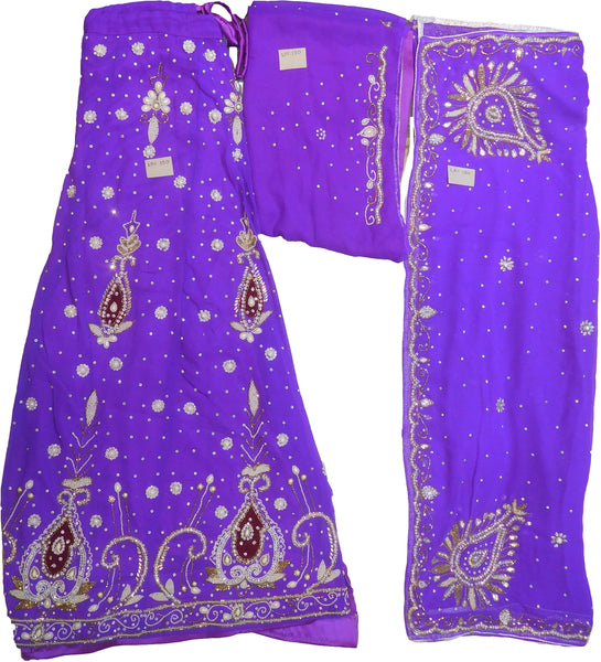 SMSAREE Purple Designer Wedding Partywear Georgette Cutdana Zari Beads & Stone Hand Embroidery Work Bridal Lahenga Dupatta Ghaghra Choli Bari Ki Til With Blouse Piece F120