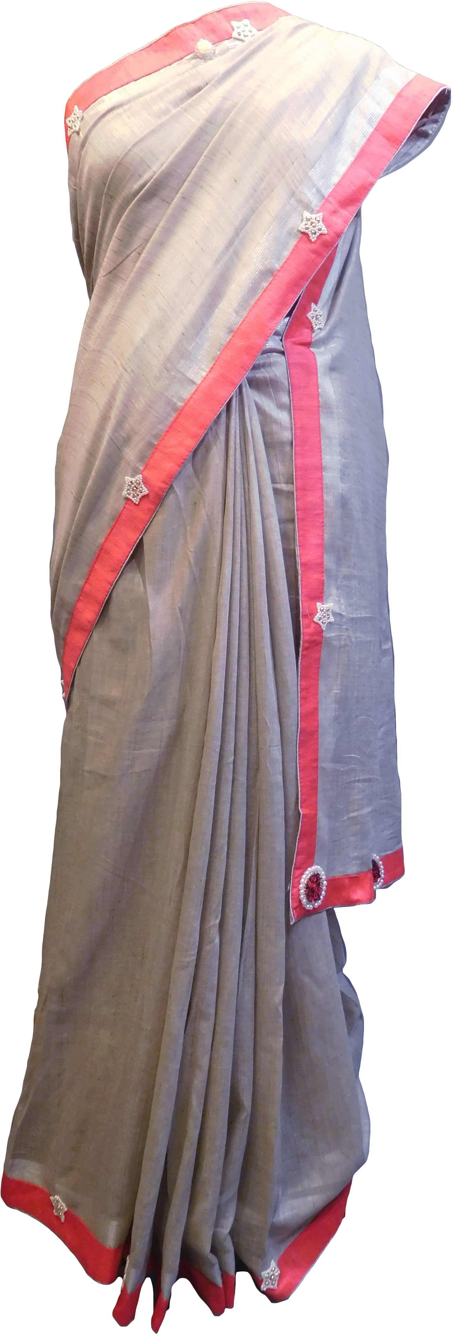 SMSAREE Grey Designer Wedding Partywear Handloom Linen Thread & Zari Hand Embroidery Work Bridal Saree Sari With Blouse Piece F123