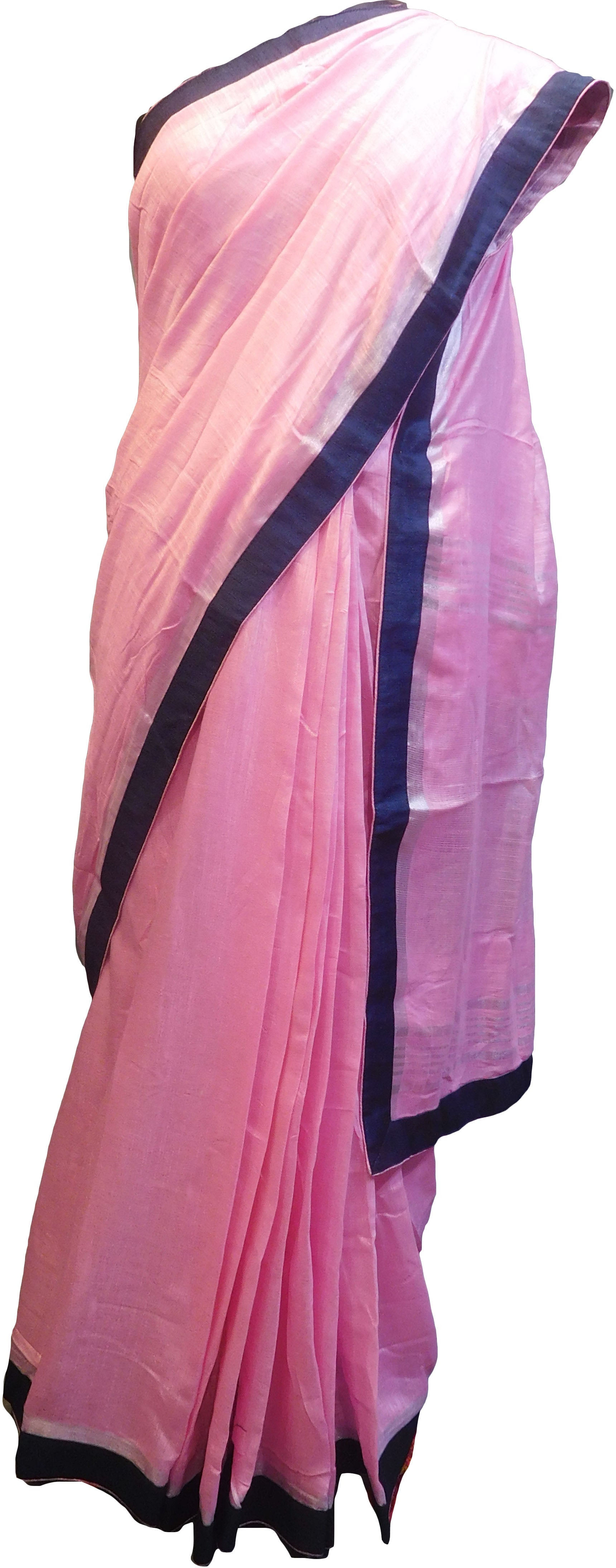 SMSAREE Pink Designer Wedding Partywear Handloom Linen Thread & Zari Hand Embroidery Work Bridal Saree Sari With Blouse Piece F127