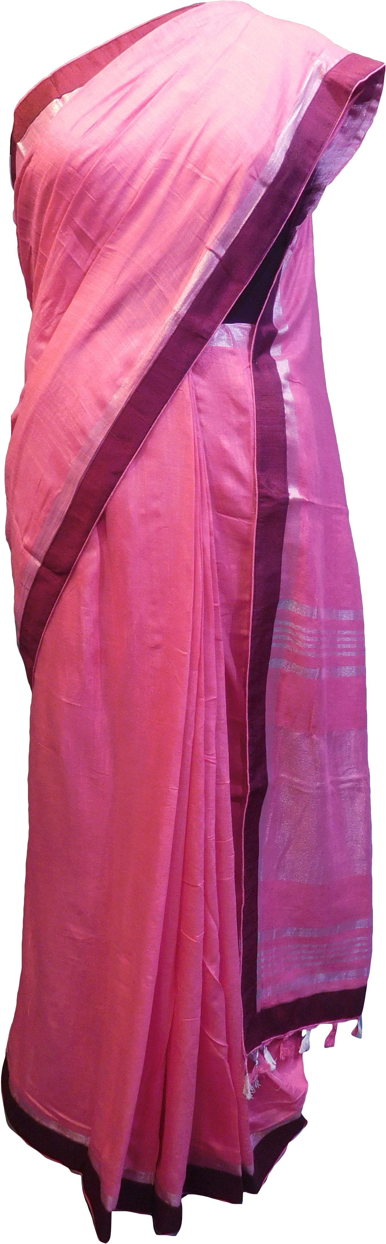 SMSAREE Pink Designer Wedding Partywear Handloom Linen Thread & Zari Hand Embroidery Work Bridal Saree Sari With Blouse Piece F128