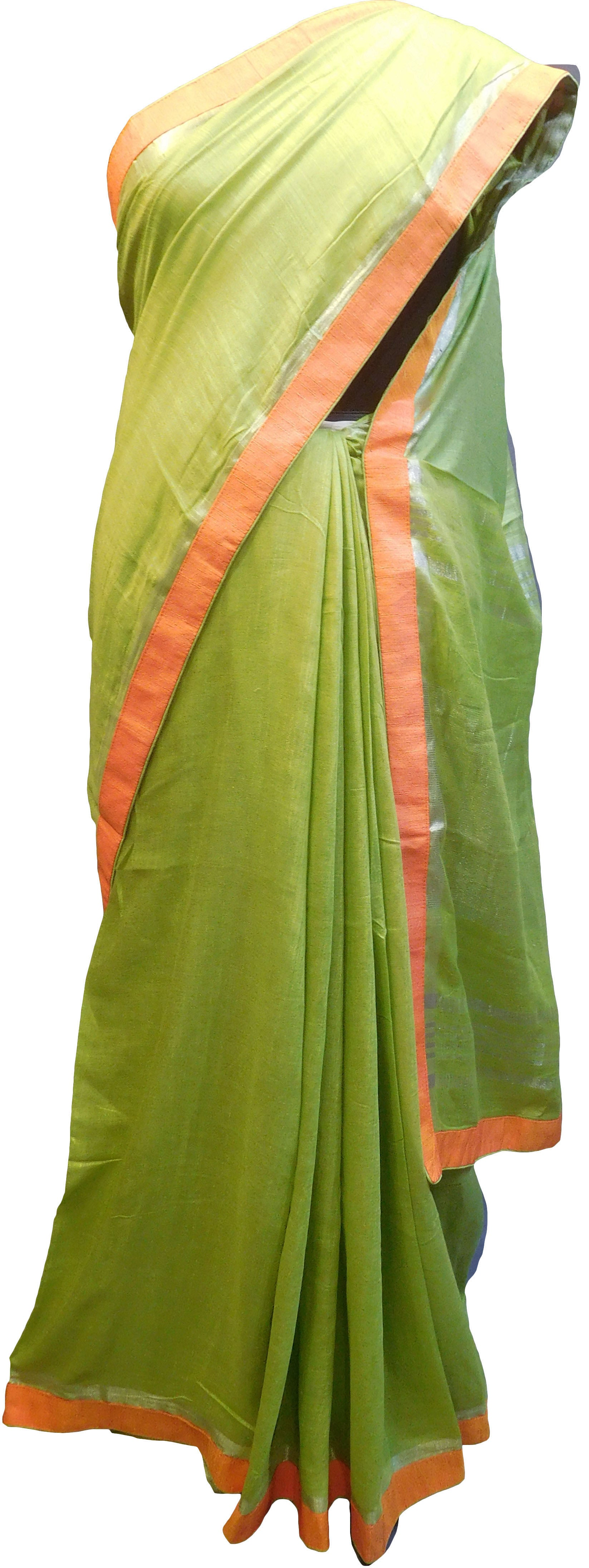 SMSAREE Green Designer Wedding Partywear Handloom Linen Thread & Zari Hand Embroidery Work Bridal Saree Sari With Blouse Piece F129