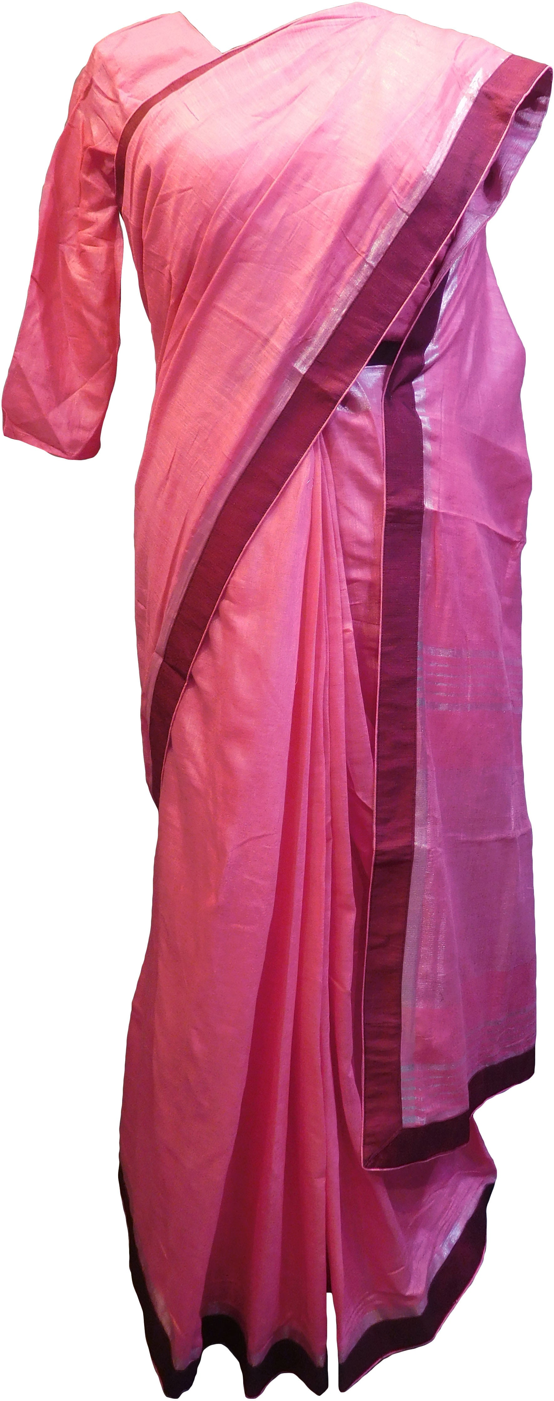 SMSAREE Pink Designer Wedding Partywear Handloom Linen Thread & Zari Hand Embroidery Work Bridal Saree Sari With Blouse Piece F132