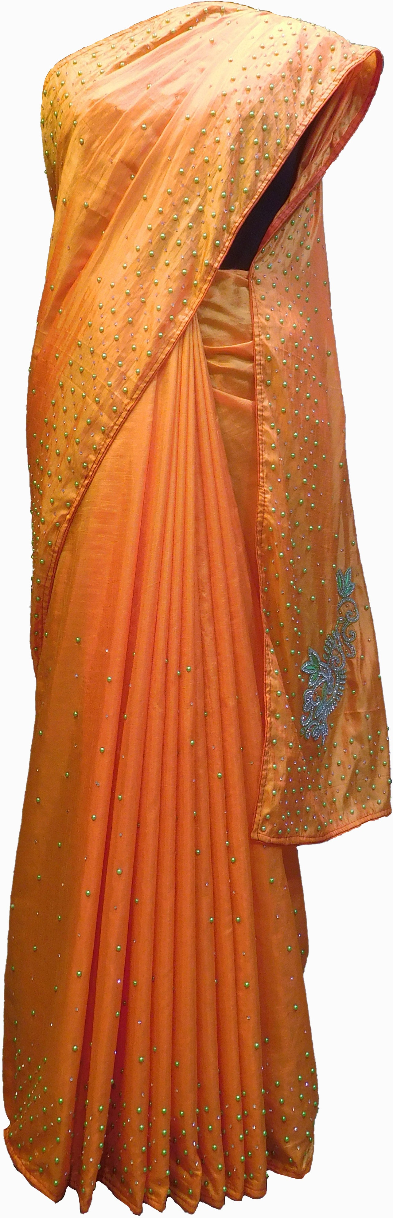SMSAREE Orange Designer Wedding Partywear Silk Pearl Cutdana Thread Beads & Stone Hand Embroidery Work Bridal Saree Sari With Blouse Piece F175