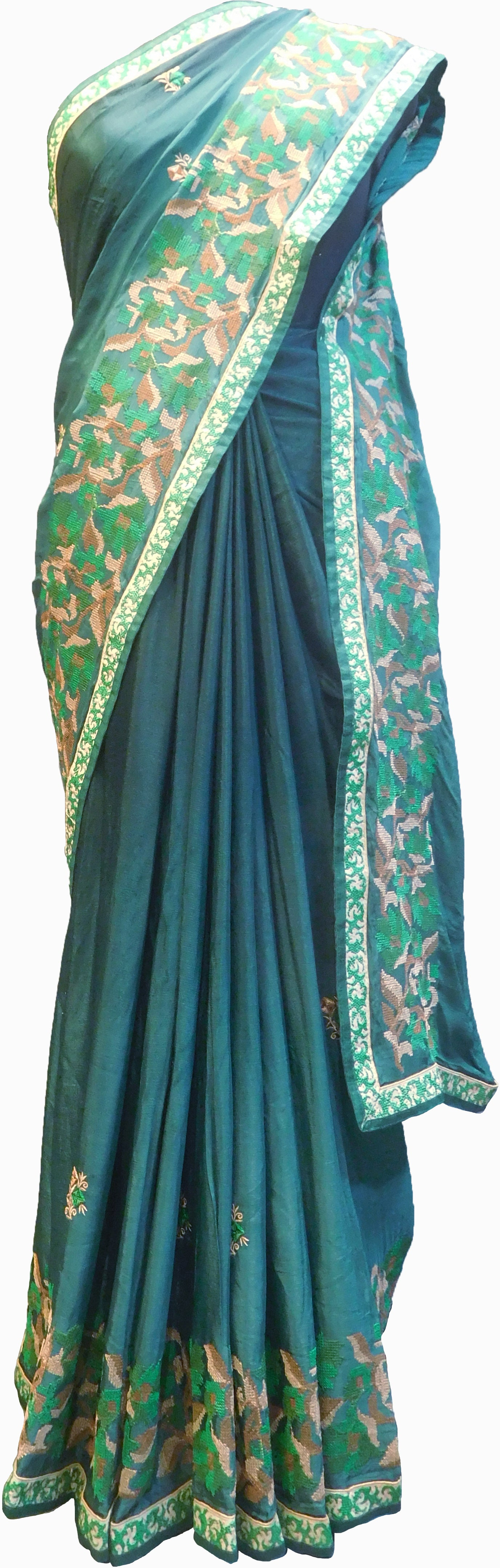 SMSAREE Green Designer Wedding Partywear Crepe (Chinon) Thread Hand Embroidery Work Bridal Saree Sari With Blouse Piece F176