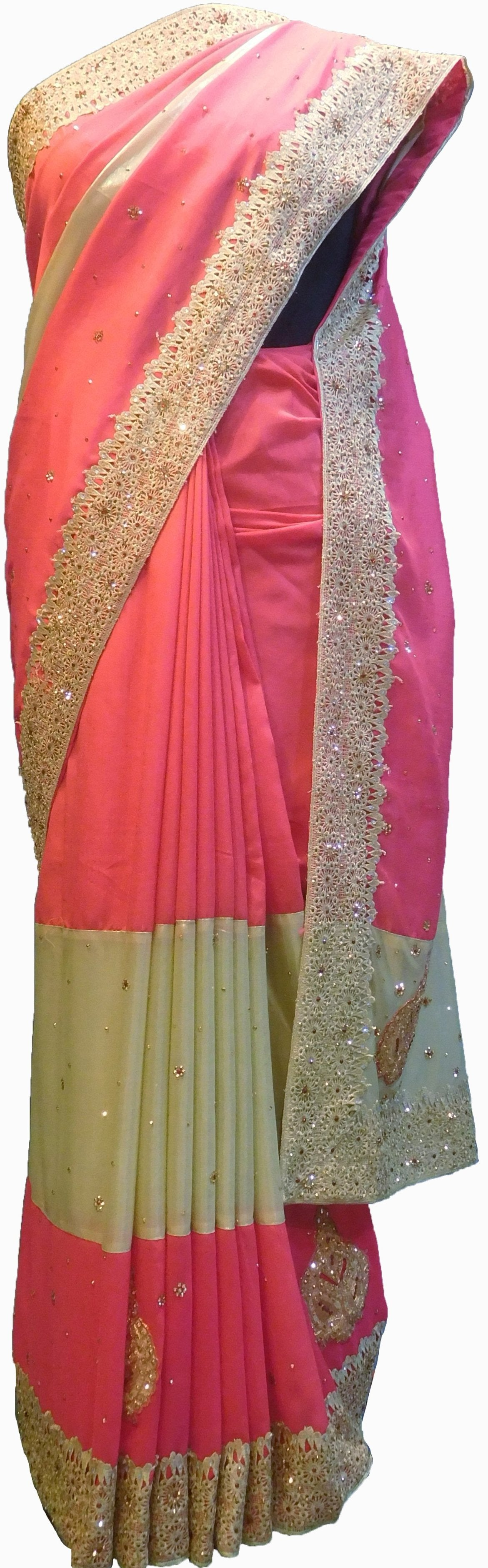 SMSAREE Pink & Cream Designer Wedding Partywear Georgette Cutdana Zari Thread & Stone Hand Embroidery Work Bridal Saree Sari With Blouse Piece F178
