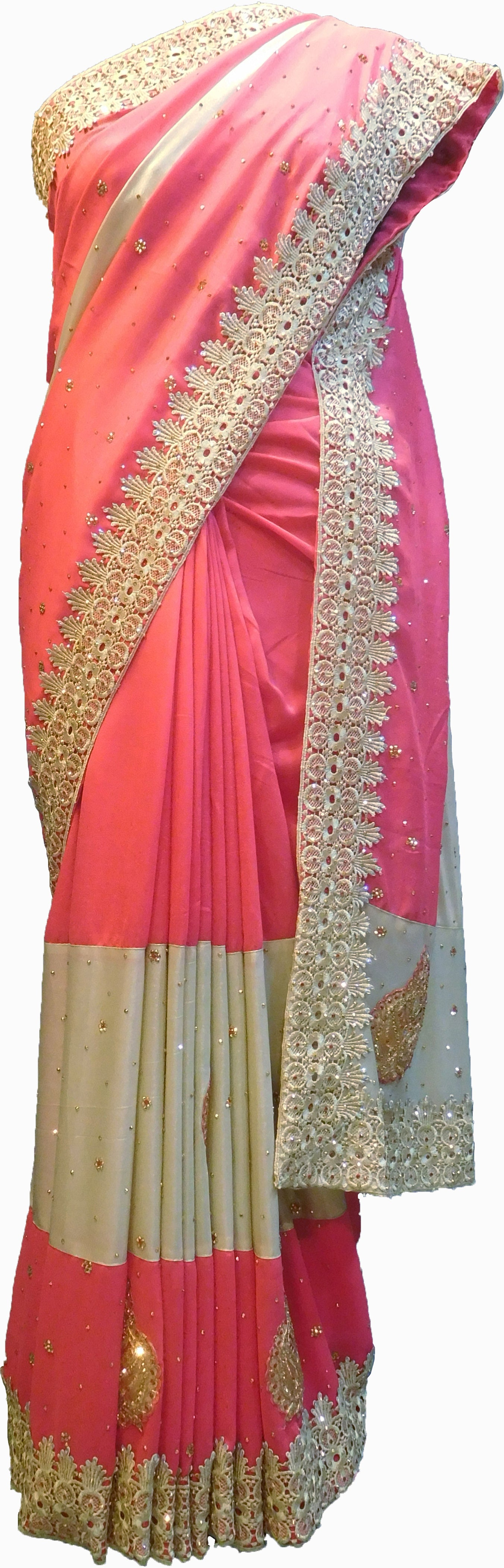 SMSAREE Pink & Cream Designer Wedding Partywear Georgette Cutdana Zari Thread & Stone Hand Embroidery Work Bridal Saree Sari With Blouse Piece F179