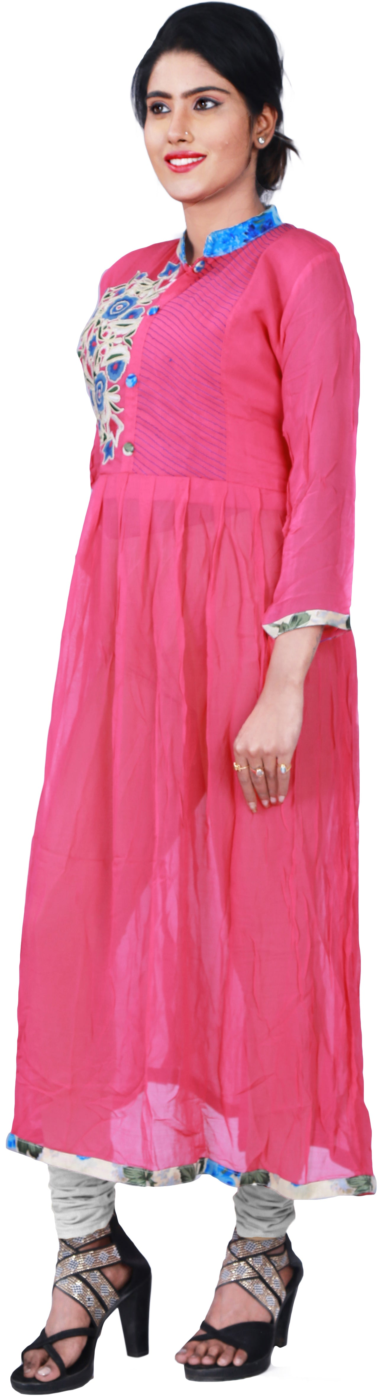 SMSAREE Pink Designer Casual Partywear Geogette Viscos Thread Hand Embroidery Work Stylish Women Kurti Kurta With Free Matching Leggings F180