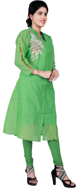 SMSAREE Green Designer Casual Partywear Cotton (Chanderi) Gota & Zari Hand Embroidery Work Stylish Women Kurti Kurta With Free Matching Leggings F183