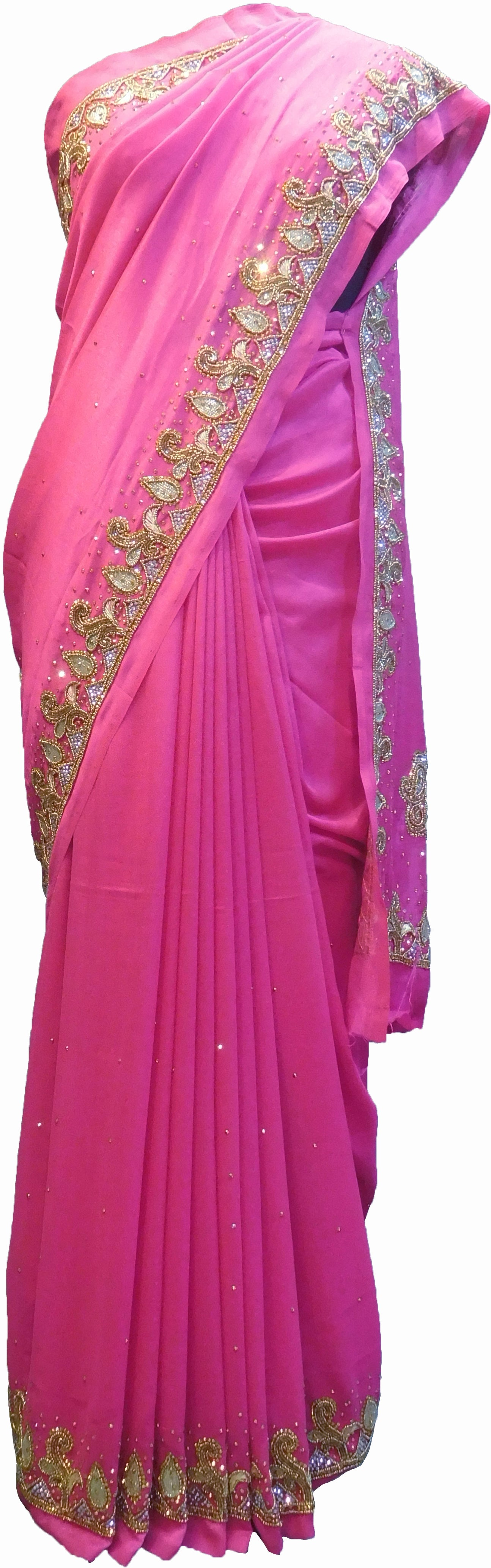 SMSAREE Pink Designer Wedding Partywear Silk (Vichitra) Zari Cutdana Thread Beads & Stone Hand Embroidery Work Bridal Saree Sari With Blouse Piece F186