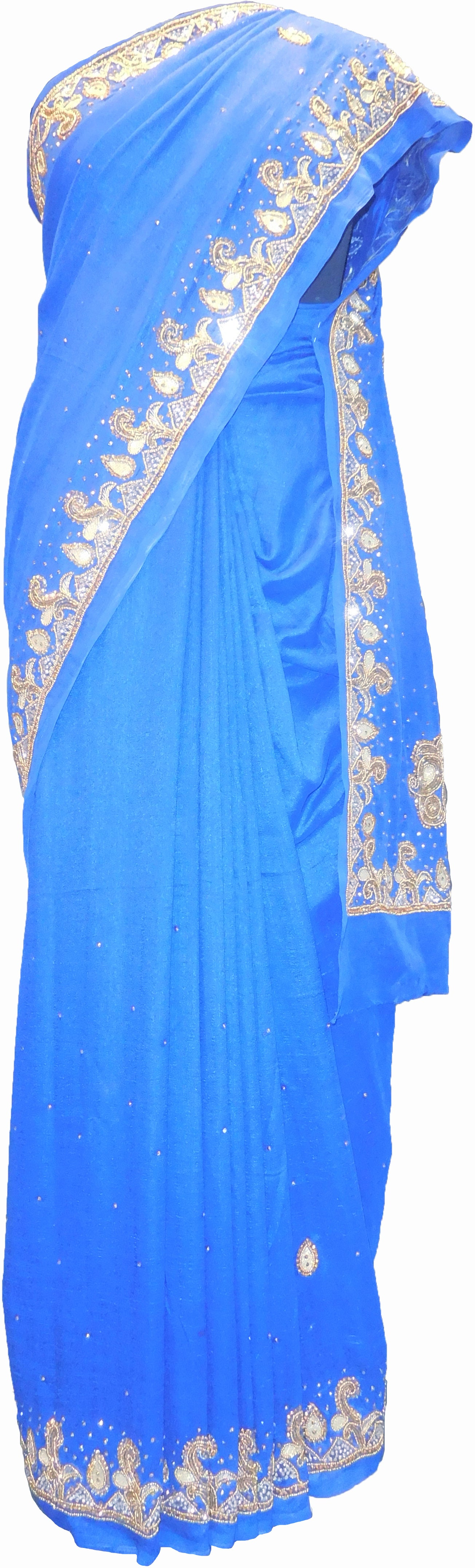 SMSAREE Blue Designer Wedding Partywear Silk (Vichitra) Zari Cutdana Thread Beads & Stone Hand Embroidery Work Bridal Saree Sari With Blouse Piece F189