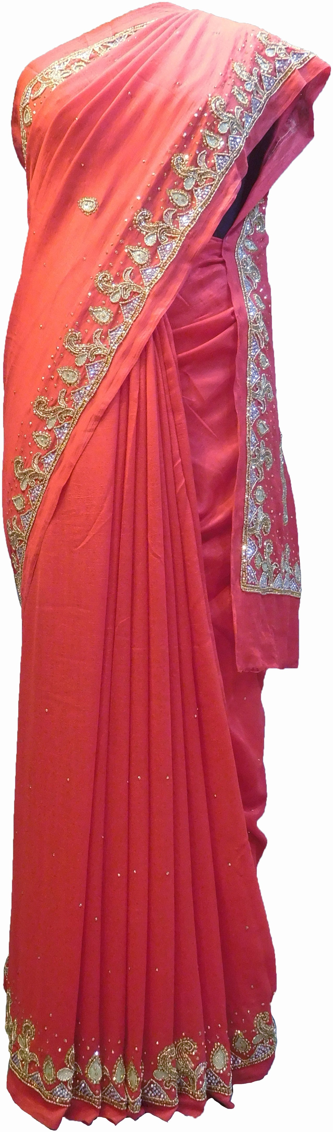 SMSAREE Red Designer Wedding Partywear Silk (Vichitra) Zari Cutdana Thread Beads & Stone Hand Embroidery Work Bridal Saree Sari With Blouse Piece F190