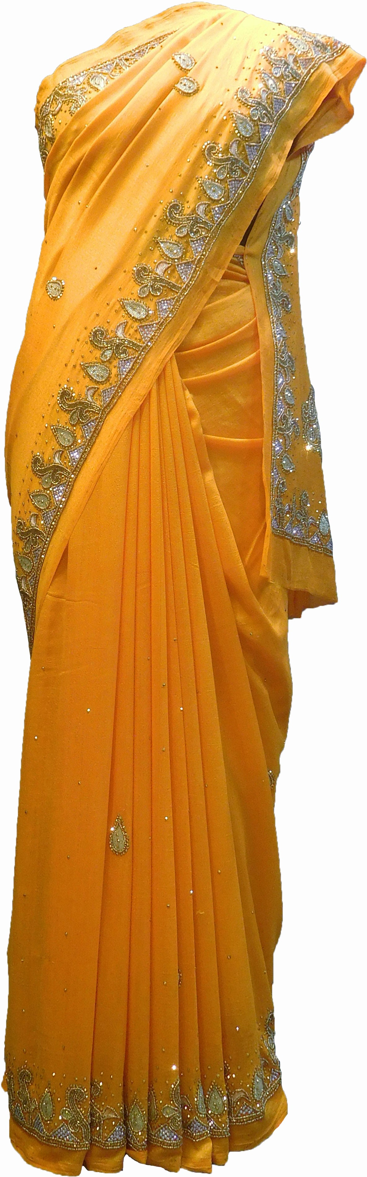 SMSAREE Yellow Designer Wedding Partywear Silk (Vichitra) Zari Cutdana Thread Beads & Stone Hand Embroidery Work Bridal Saree Sari With Blouse Piece F191