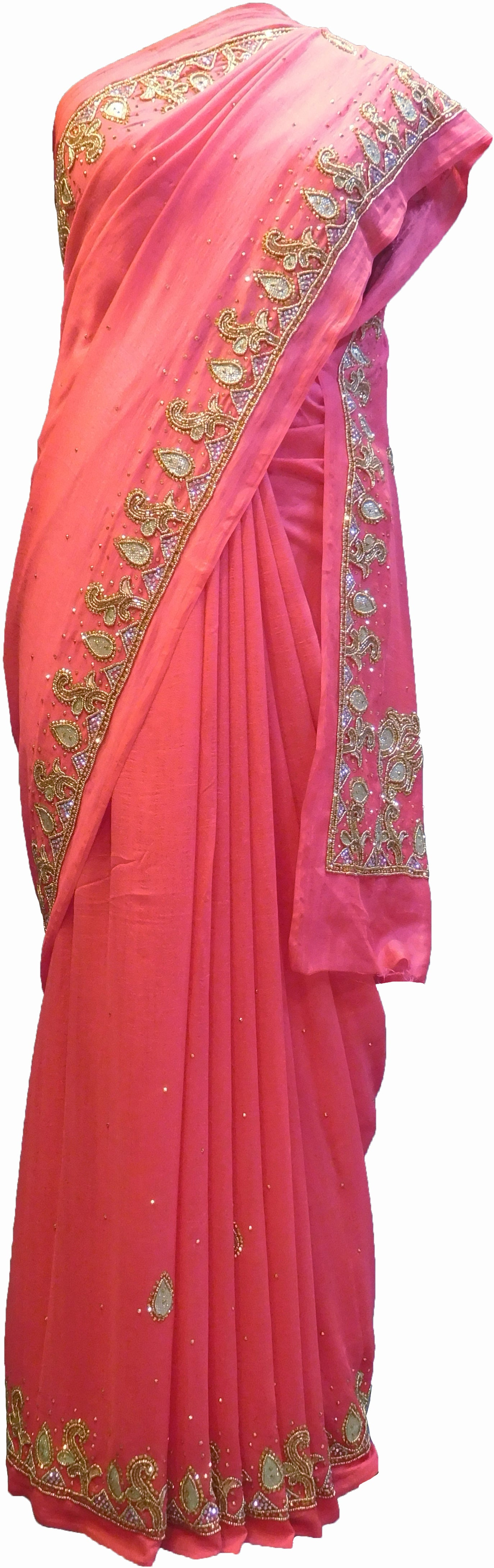 SMSAREE Pink Designer Wedding Partywear Silk (Vichitra) Zari Cutdana Thread Beads & Stone Hand Embroidery Work Bridal Saree Sari With Blouse Piece F192