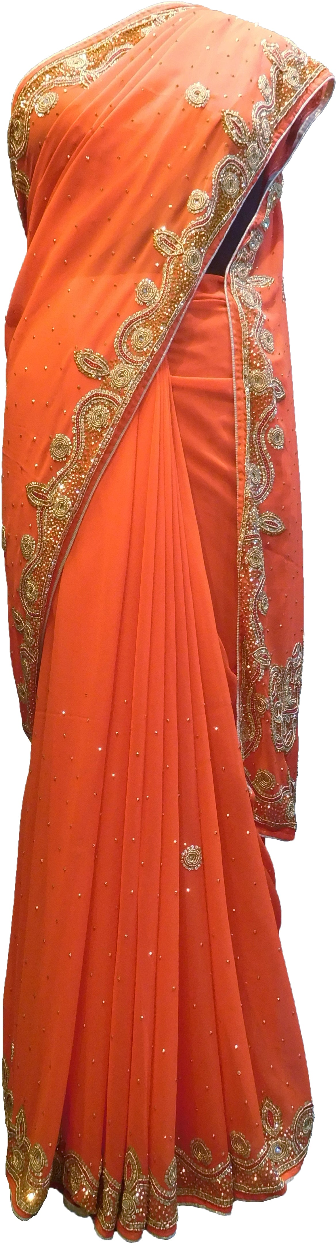SMSAREE Orange Designer Wedding Partywear Georgette Beads & Stone Hand Embroidery Work Bridal Saree Sari With Blouse Piece F193