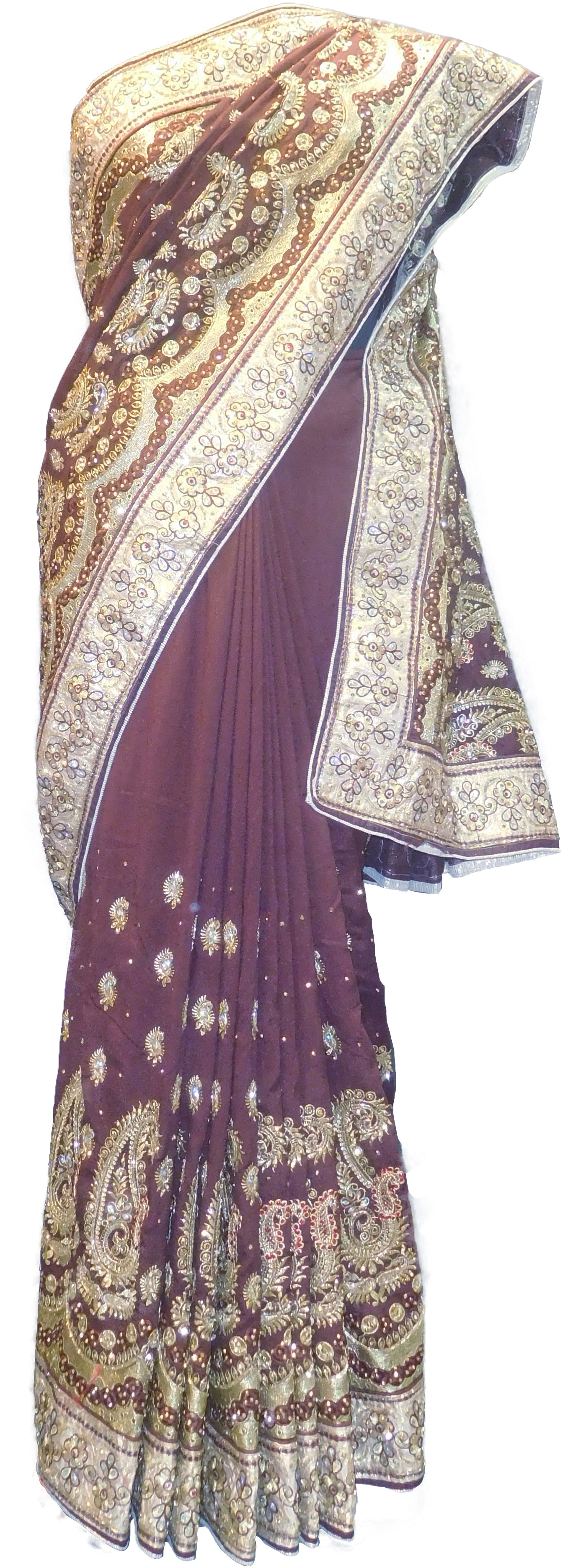 SMSAREE Coffee Brown Designer Wedding Partywear Silk (Vichitra) Zari Cutdana Thread & Stone Hand Embroidery Work Bridal Saree Sari With Blouse Piece F195