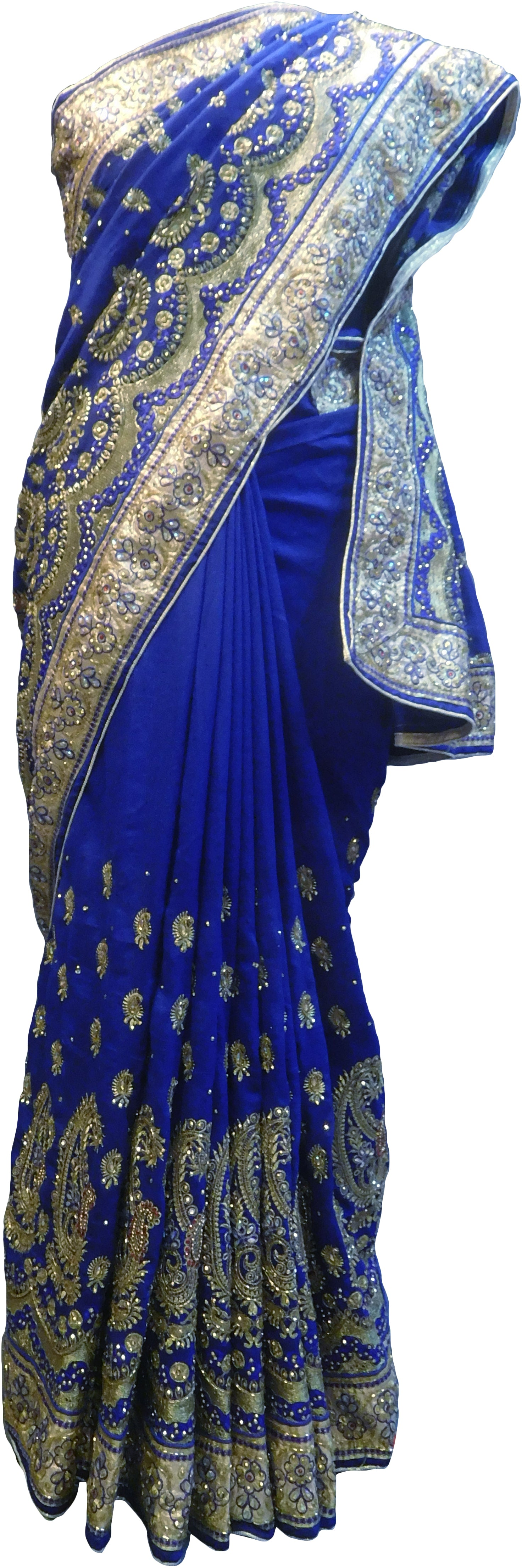 SMSAREE  blue  Designer Wedding Partywear Silk (Vichitra) Zari Cutdana Thread & Stone Hand Embroidery Work Bridal Saree Sari With Blouse Piece F196
