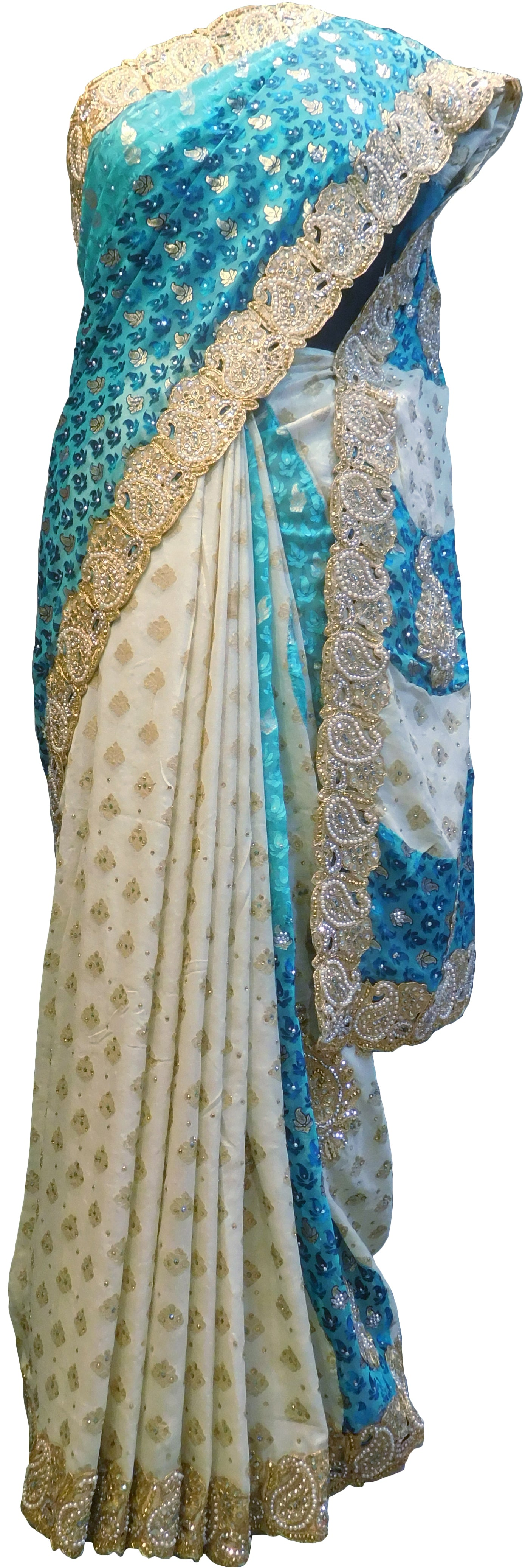 SMSAREE Turquoise & Cream Designer Wedding Partywear Brasso Zari Pearl & Stone Hand Embroidery Work Bridal Saree Sari With Blouse Piece F197