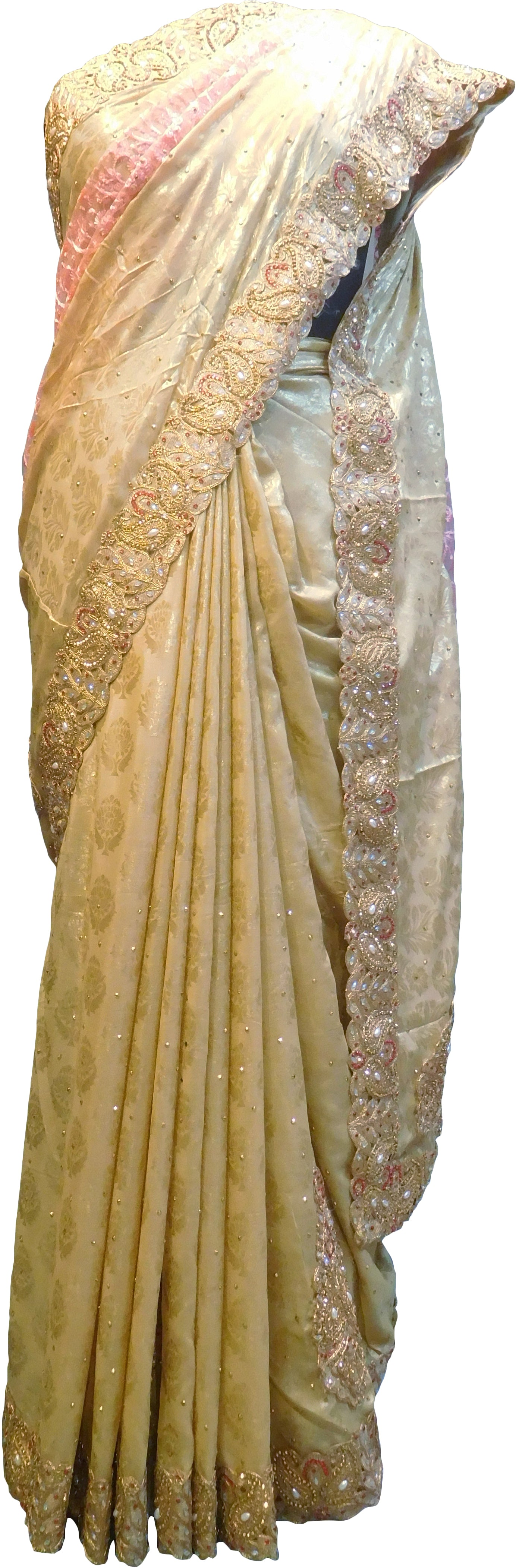 SMSAREE Pink & Cream Designer Wedding Partywear Brasso & Net Zari Thread Pearl & Stone Hand Embroidery Work Bridal Saree Sari With Blouse Piece F199