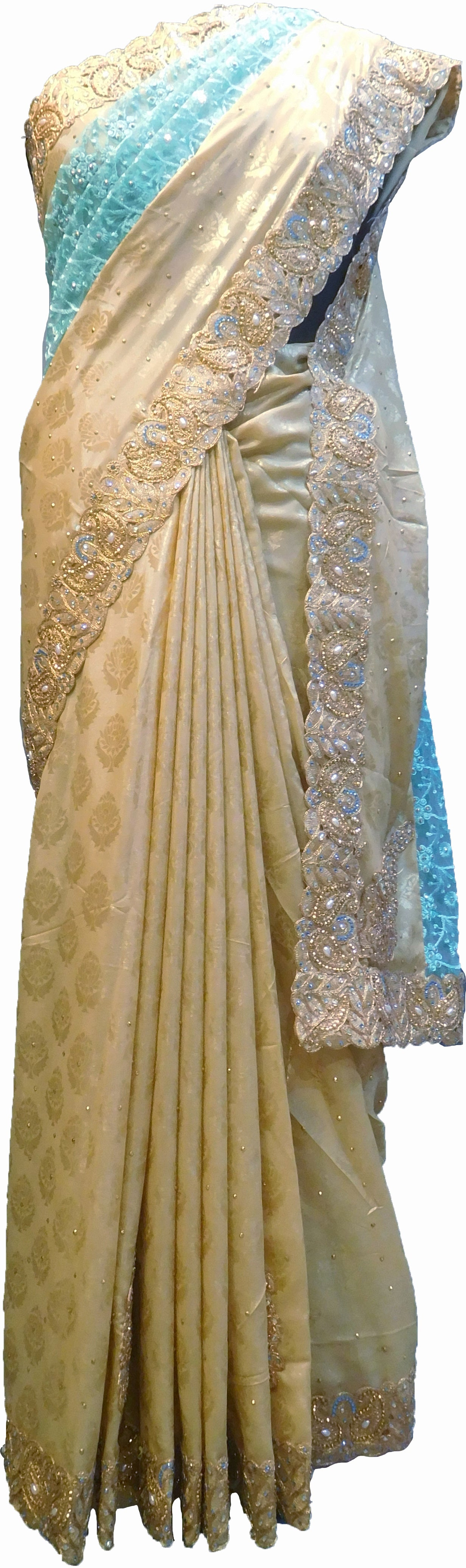 SMSAREE Turquoise & Cream Designer Wedding Partywear Brasso & Net Zari Thread Pearl & Stone Hand Embroidery Work Bridal Saree Sari With Blouse Piece F204