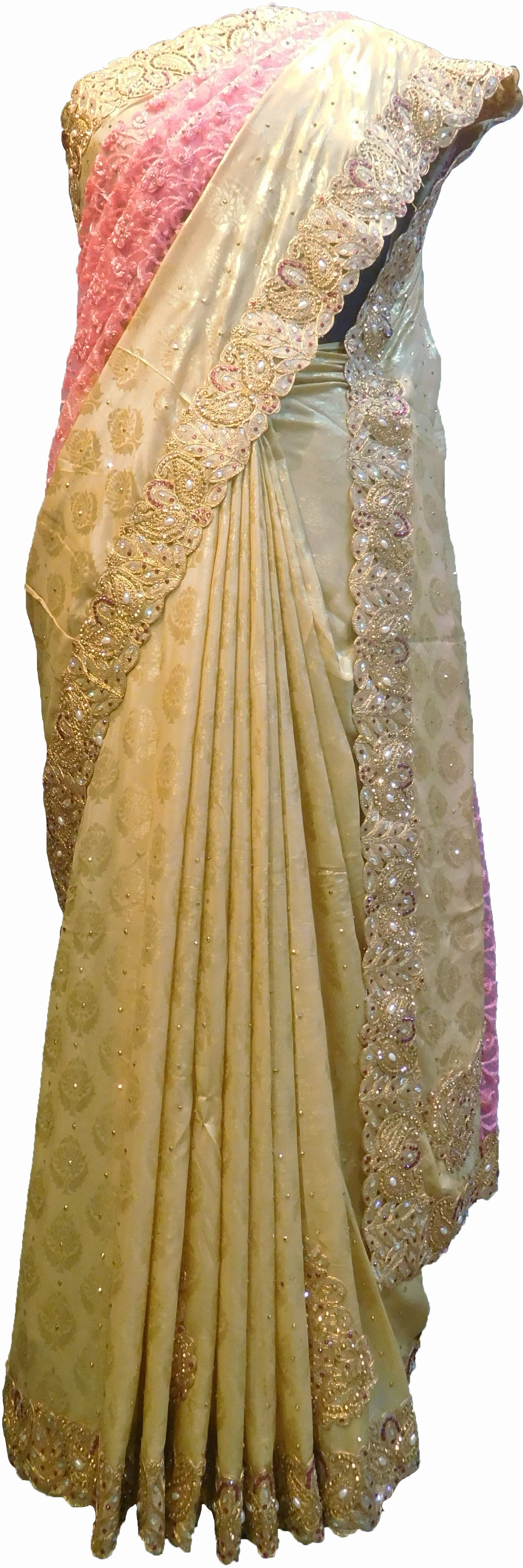 SMSAREE Pink & Cream Designer Wedding Partywear Brasso & Net Zari Thread Pearl & Stone Hand Embroidery Work Bridal Saree Sari With Blouse Piece F207