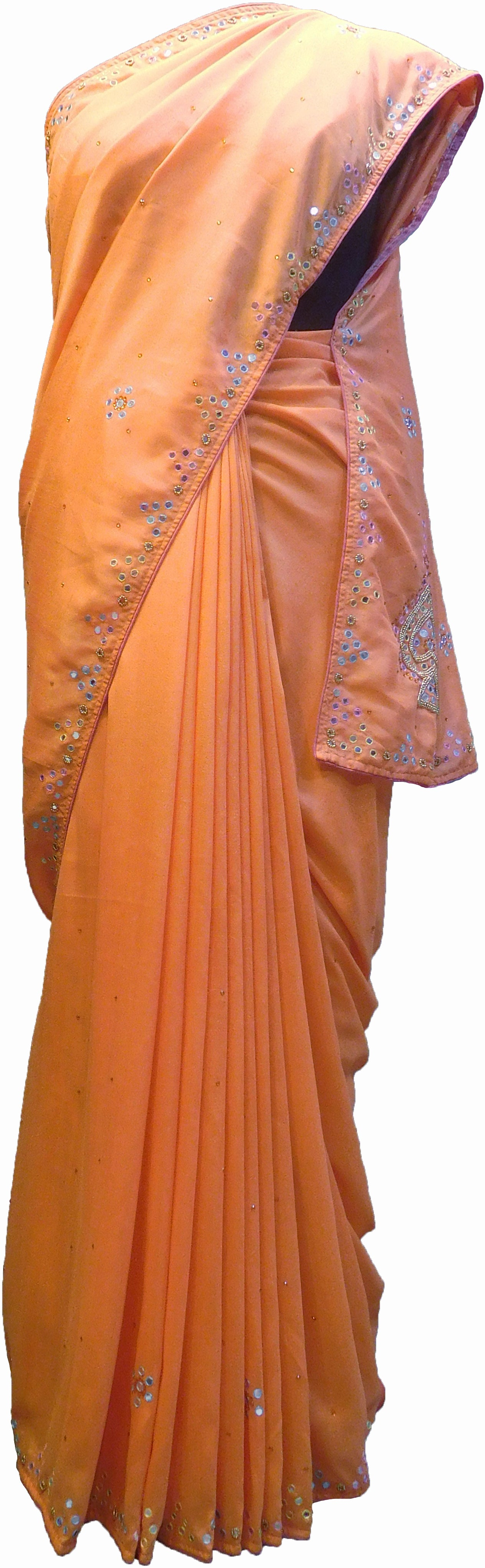 SMSAREE Peach Designer Wedding Partywear Crepe (Rangoli) Stone Beads Thread & Mirror Hand Embroidery Work Bridal Saree Sari With Blouse Piece F212