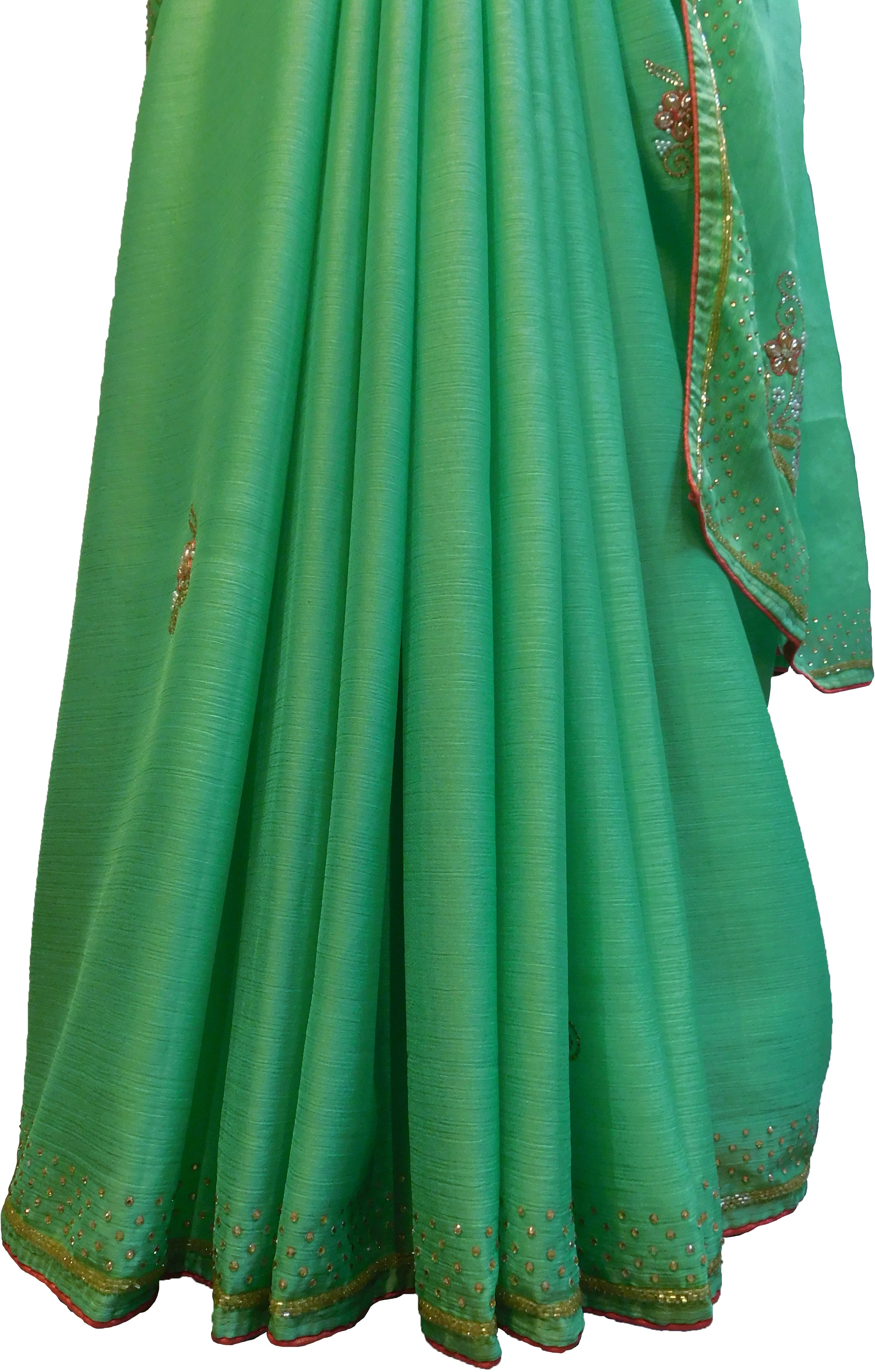 SMSAREE Green Designer Wedding Partywear Georgette Stone Beads Zari Thread & Bullion Hand Embroidery Work Bridal Saree Sari With Blouse Piece F217