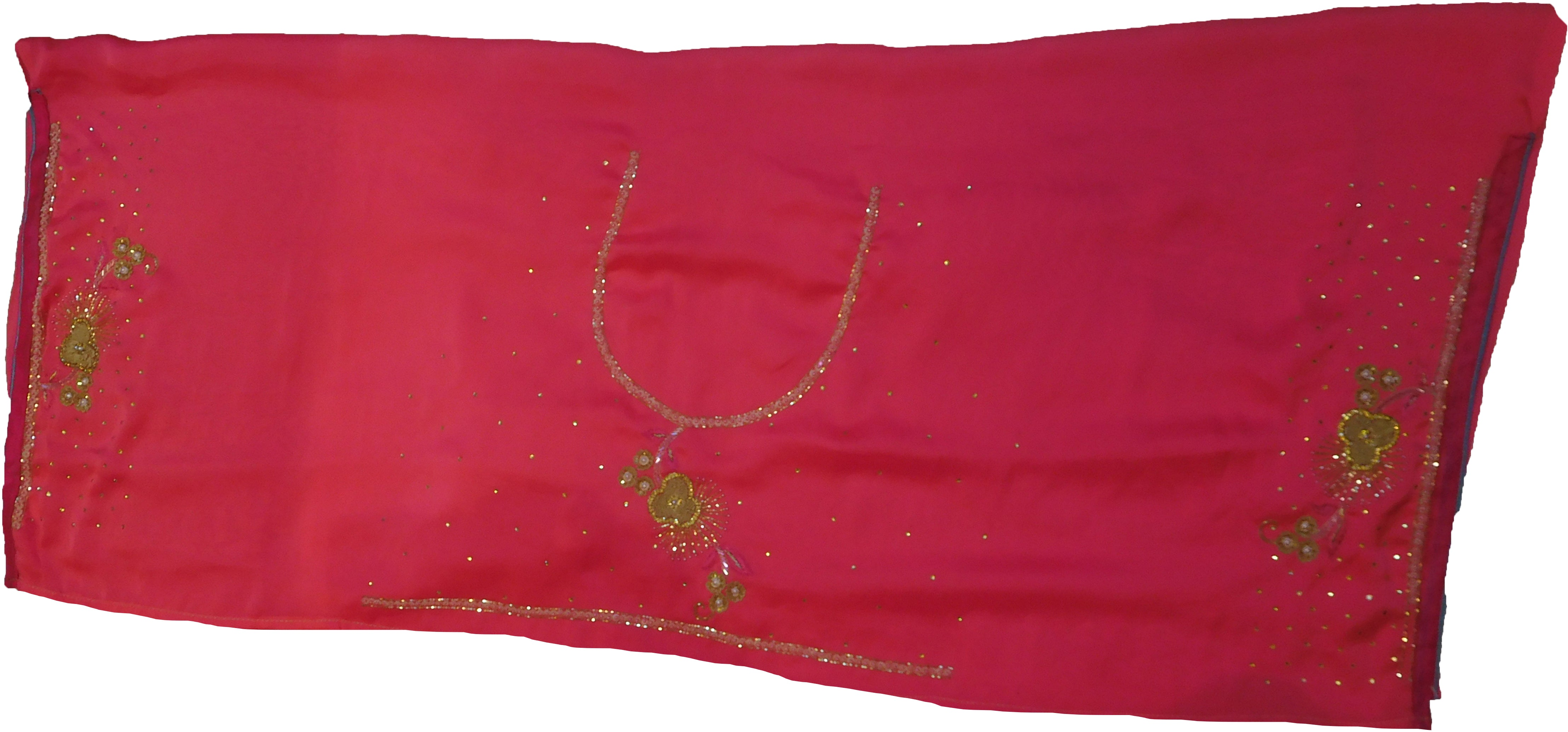 SMSAREE Pink Designer Wedding Partywear Crepe (Rangoli) Stone Beads Zari Sequence & Bullion Hand Embroidery Work Bridal Saree Sari With Blouse Piece F218