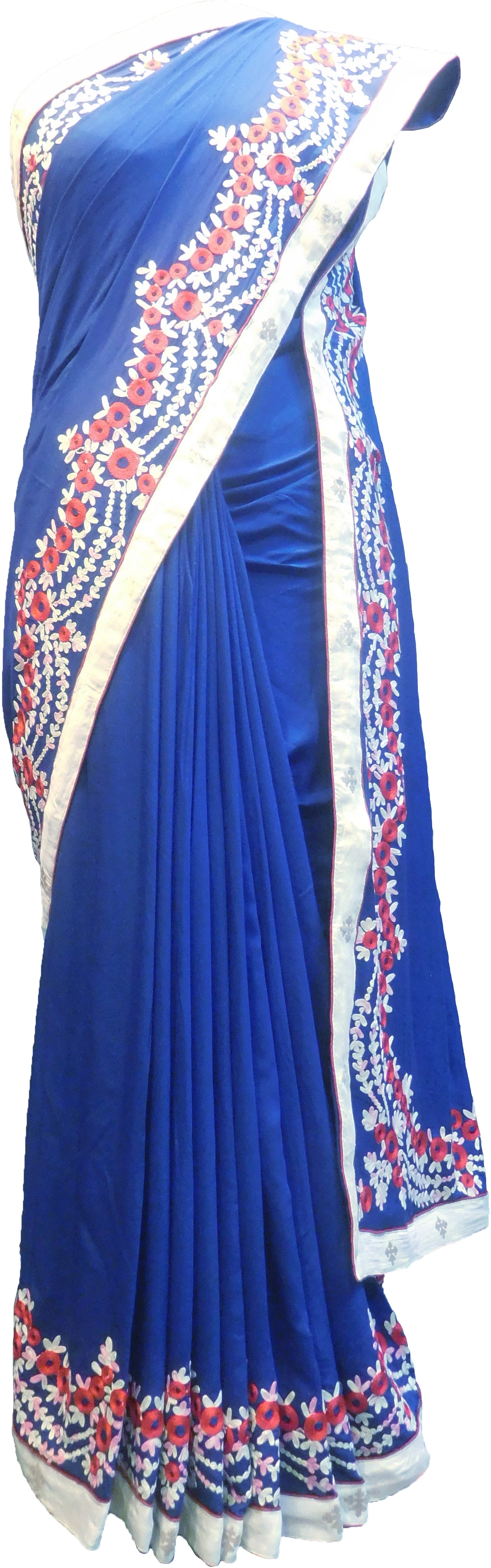 SMSAREE Blue Designer Wedding Partywear Satin (Silk) Thread & Zari Hand Embroidery Work Bridal Saree Sari With Blouse Piece F221