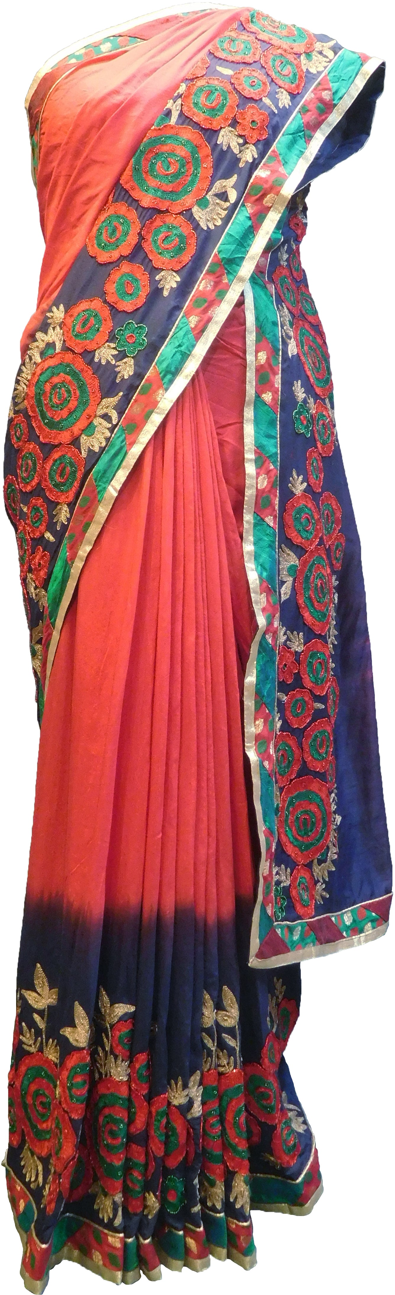SMSAREE Red& Blue Designer Wedding Partywear Satin (Silk) Thread Beads & Zari Hand Embroidery Work Bridal Saree Sari With Blouse Piece F223