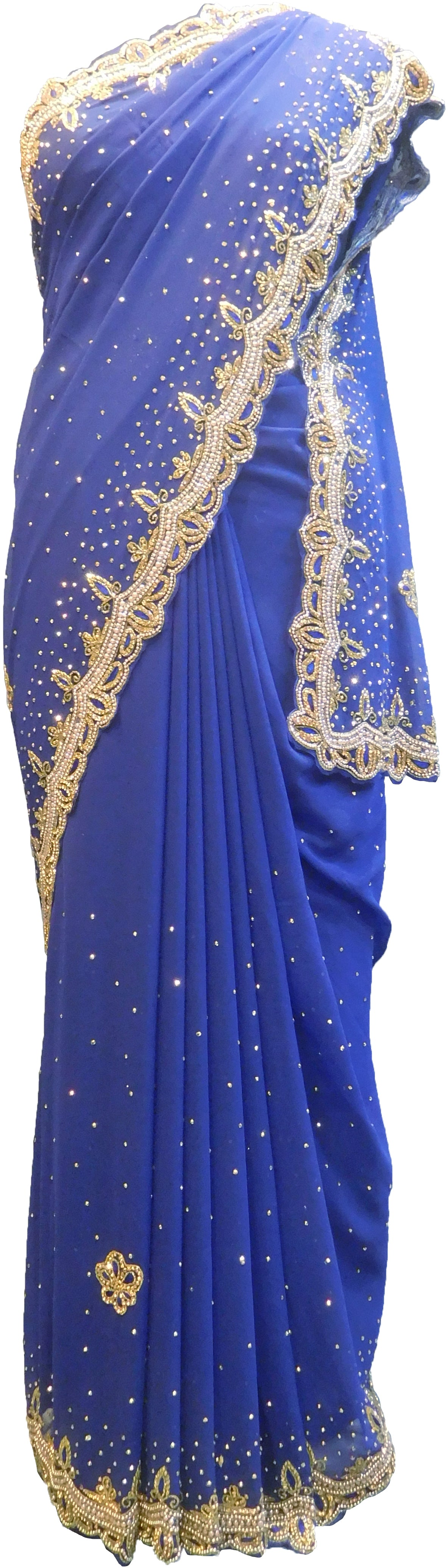 SMSAREE Blue Designer Wedding Partywear Georgette Cutdana Stone Beads Thread & Bullion Hand Embroidery Work Bridal Saree Sari With Blouse Piece F224