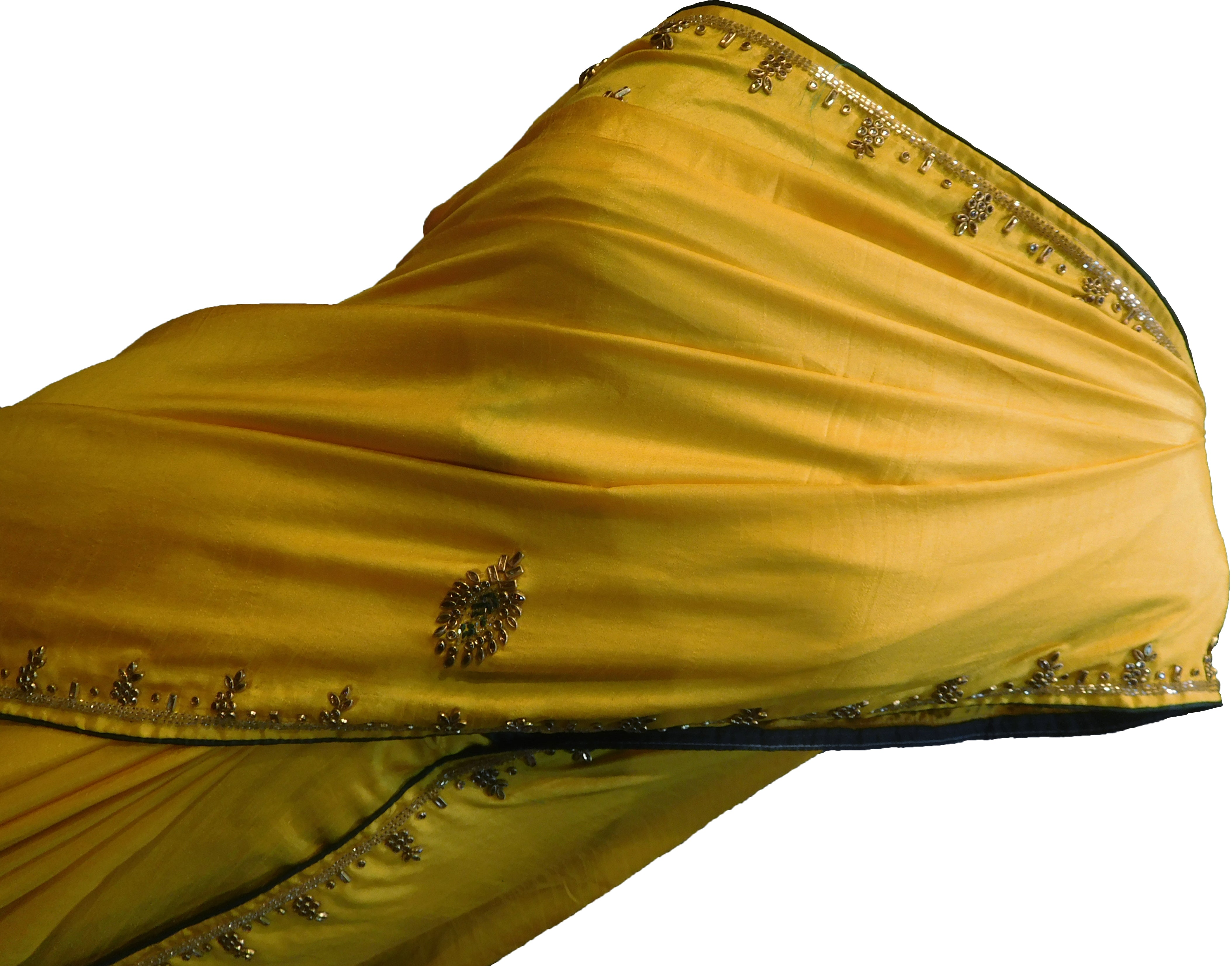 SMSAREE Yellow Designer Wedding Partywear Satin (Silk) Stone Thread & Cutdana Hand Embroidery Work Bridal Saree Sari With Blouse Piece F255