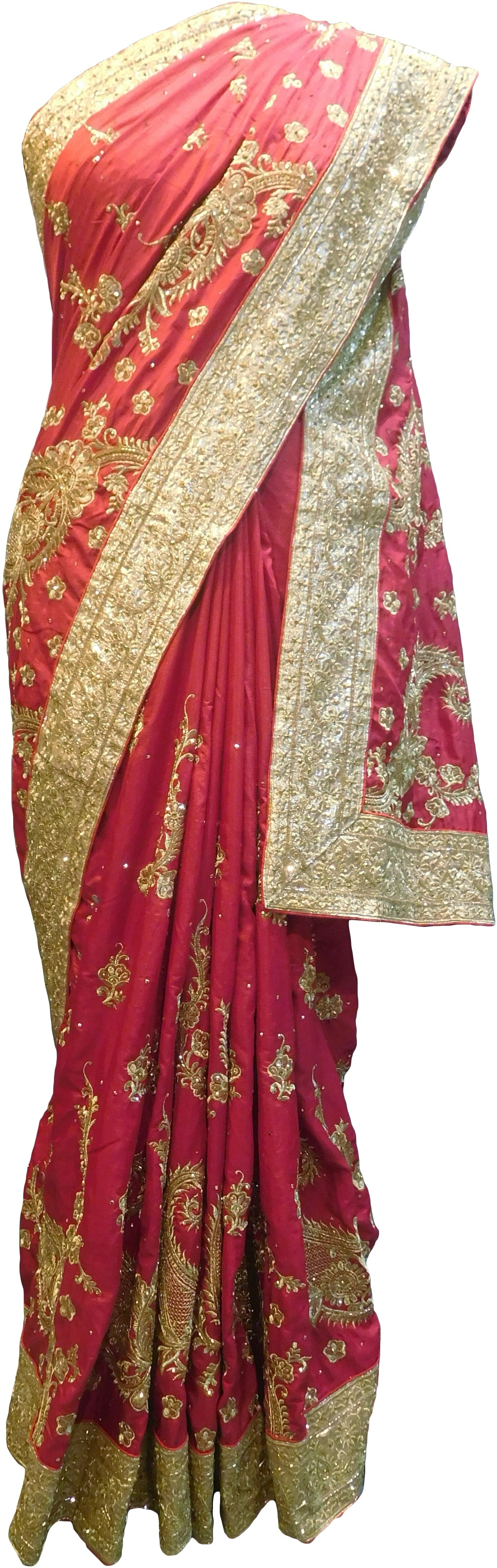 SMSAREE Red Designer Wedding Partywear Silk Stone Cutdana & Zari Hand Embroidery Work Bridal Saree Sari With Blouse Piece F257