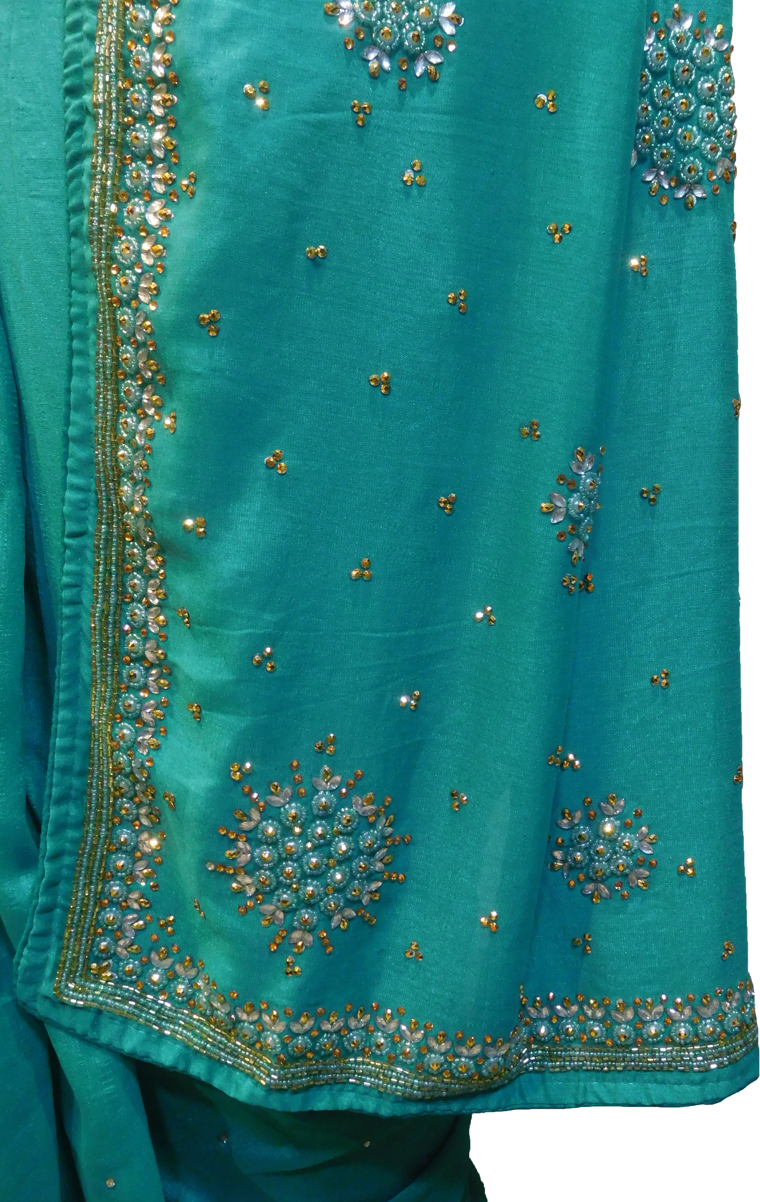 SMSAREE Turquoise Designer Wedding Partywear Silk (Vichitra) Stone Beads & Cutdana Hand Embroidery Work Bridal Saree Sari With Blouse Piece F258