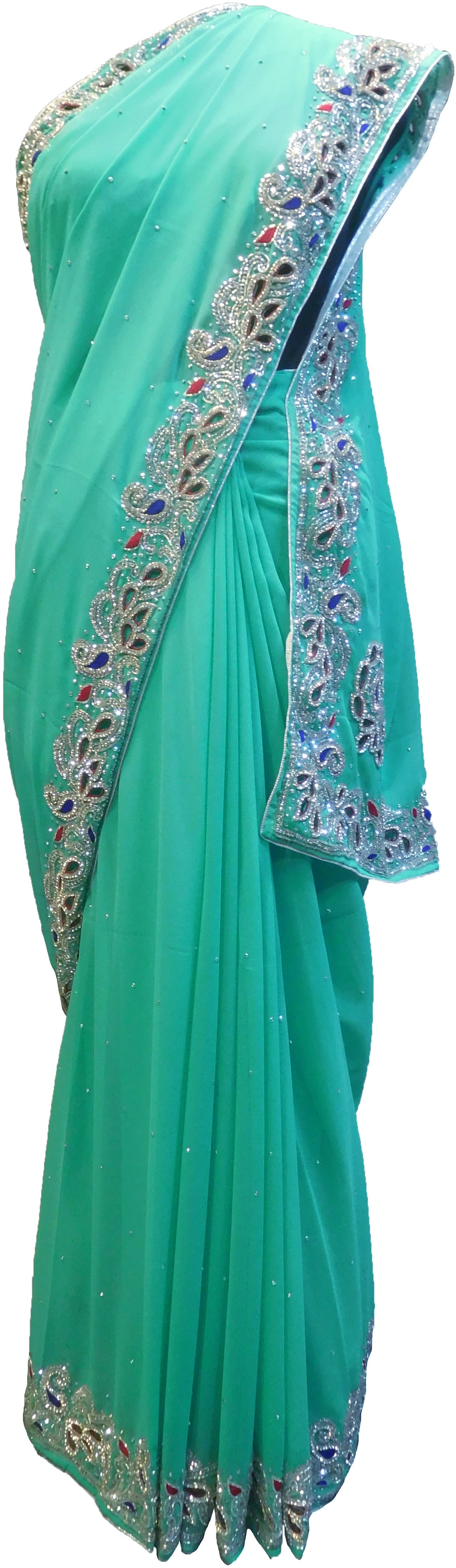 SMSAREE Turquoise Designer Wedding Partywear Georgette Stone Thread & Cutdana Hand Embroidery Work Bridal Saree Sari With Blouse Piece F261