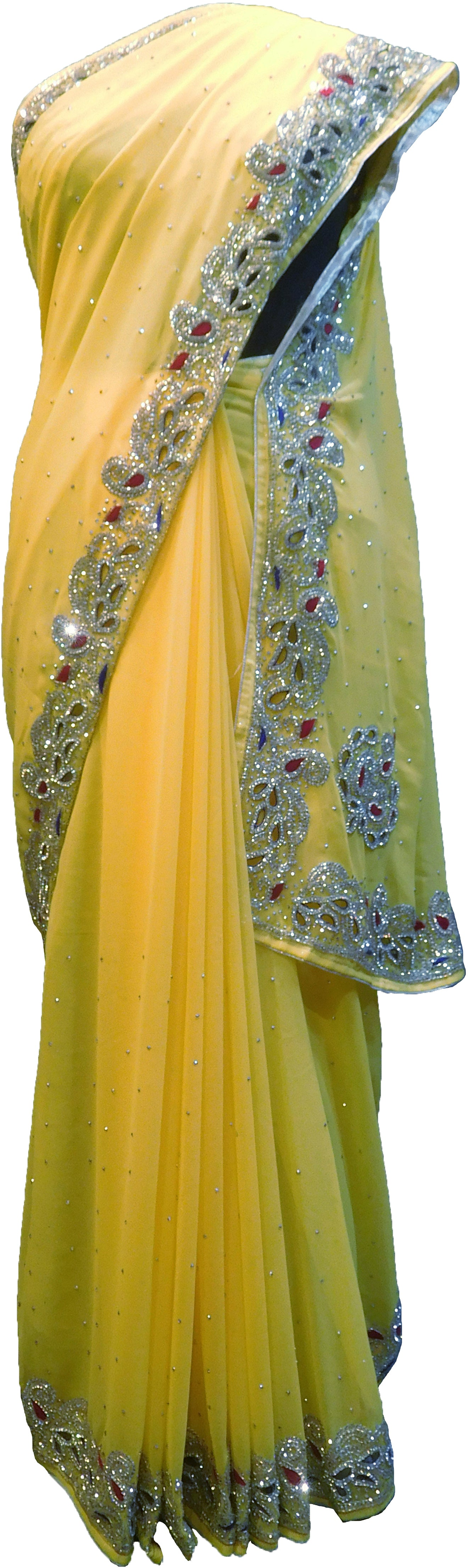 SMSAREE Yellow Designer Wedding Partywear Georgette Stone Thread & Cutdana Hand Embroidery Work Bridal Saree Sari With Blouse Piece F263