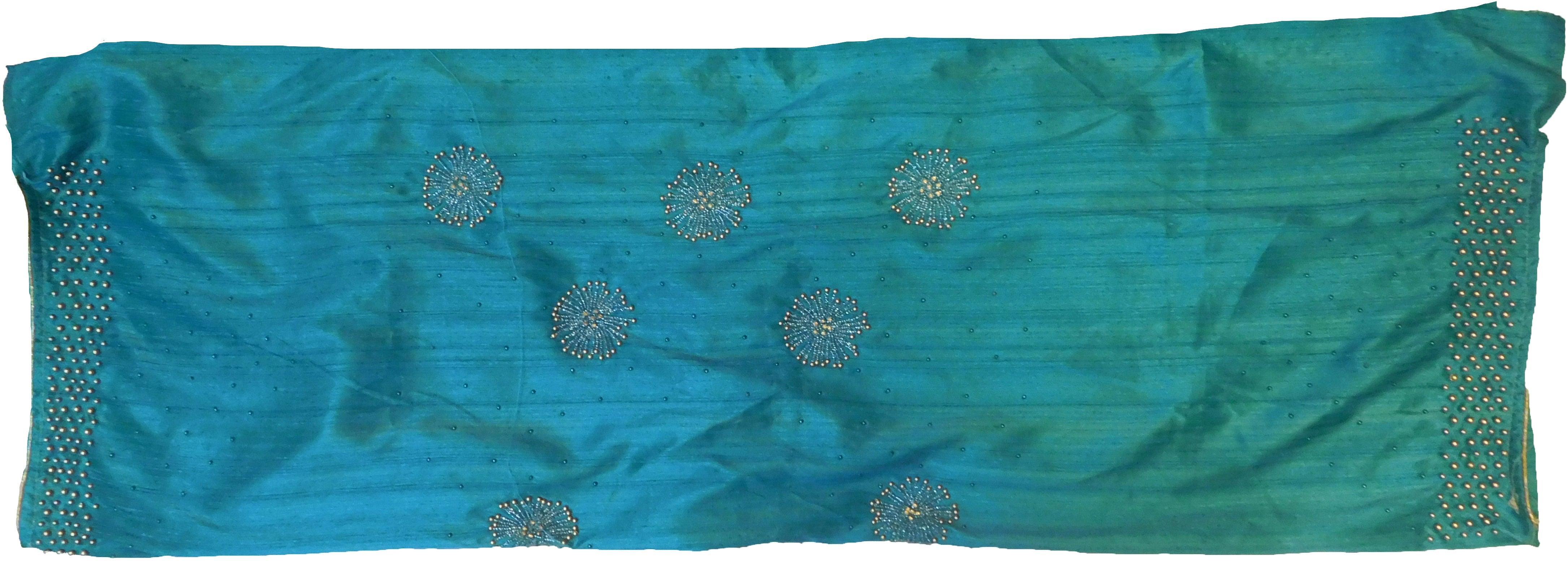 SMSAREE Blue Designer Wedding Partywear Silk (Vichitra) Stone & Beads Hand Embroidery Work Bridal Saree Sari With Blouse Piece F271