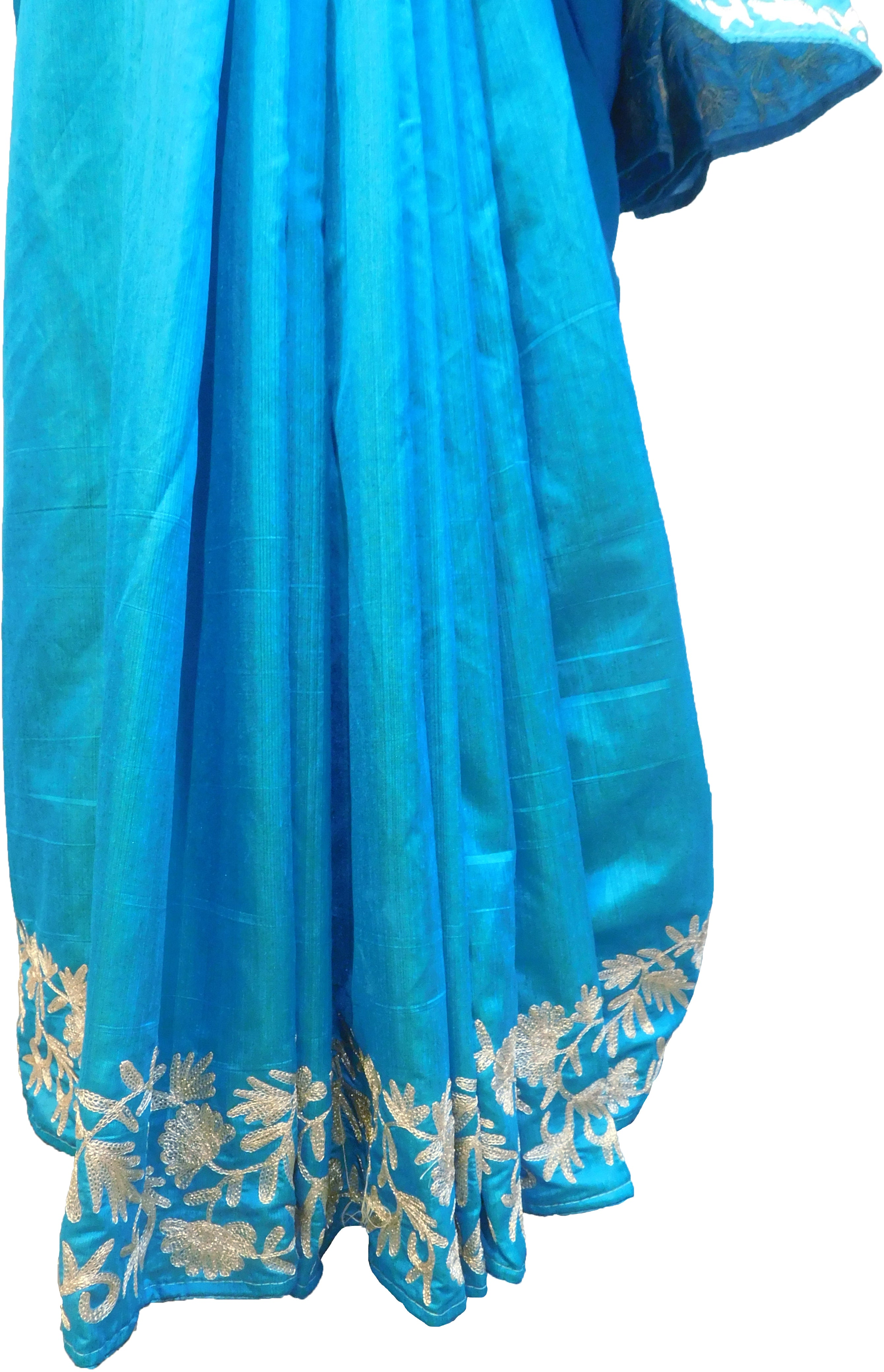 SMSAREE Blue Designer Wedding Partywear Silk (Vichitra) Zari Hand Embroidery Work Bridal Saree Sari With Blouse Piece F276